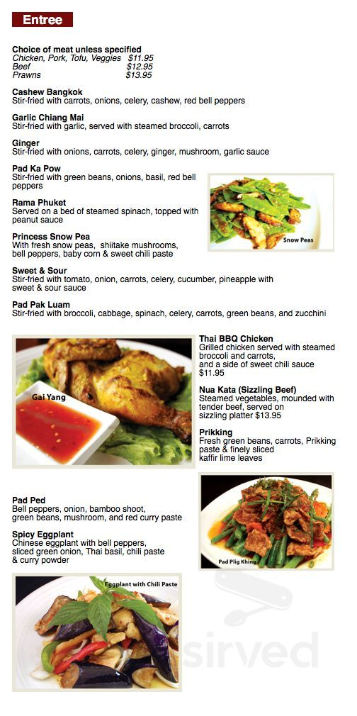 Menu for Thian Thai Restaurant in Bonney Lake, Washington