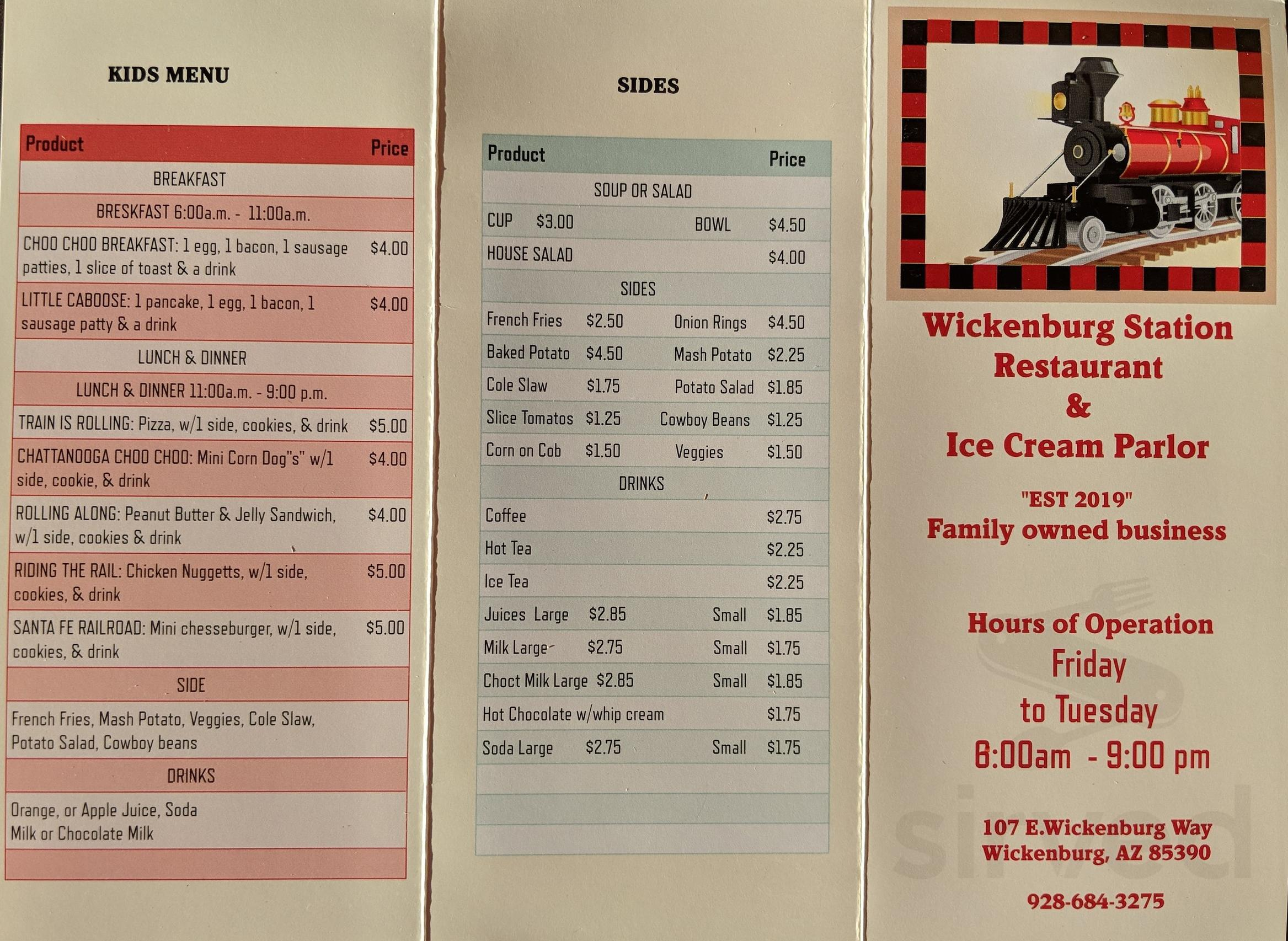 Menu For Wickenburg Station Restaurant Ice Cream Parlor In
