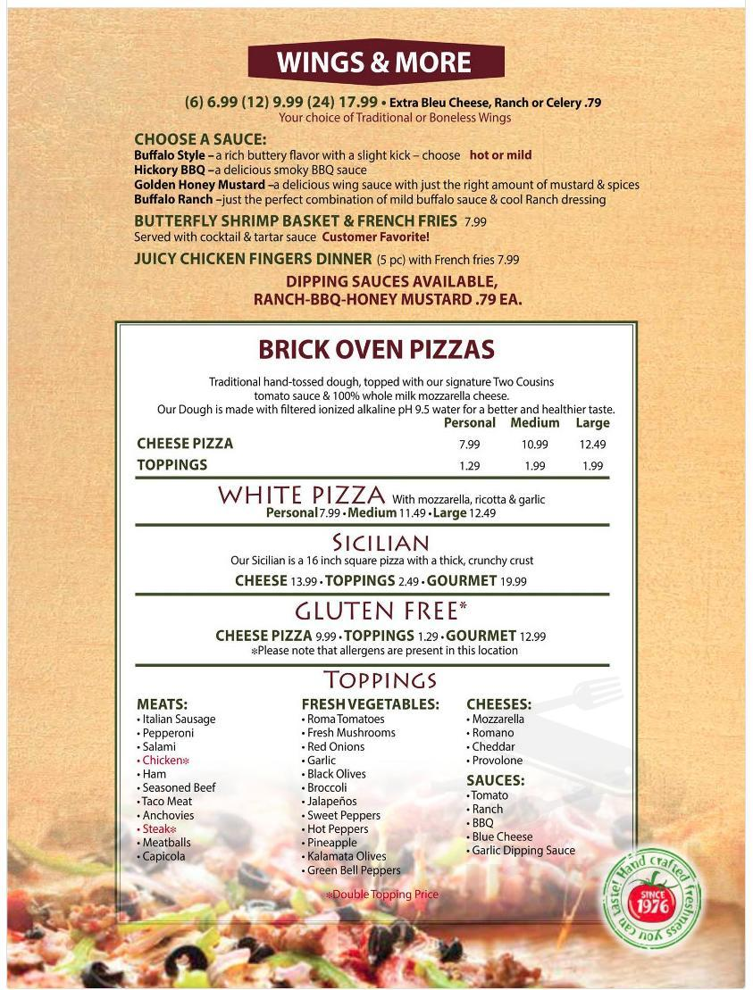 Menu for Two Cousins Pizza in Ephrata, Pennsylvania, USA