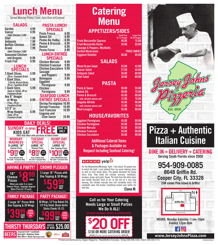 Jersey Johns Pizzeria menu in Cooper City, Florida, USA