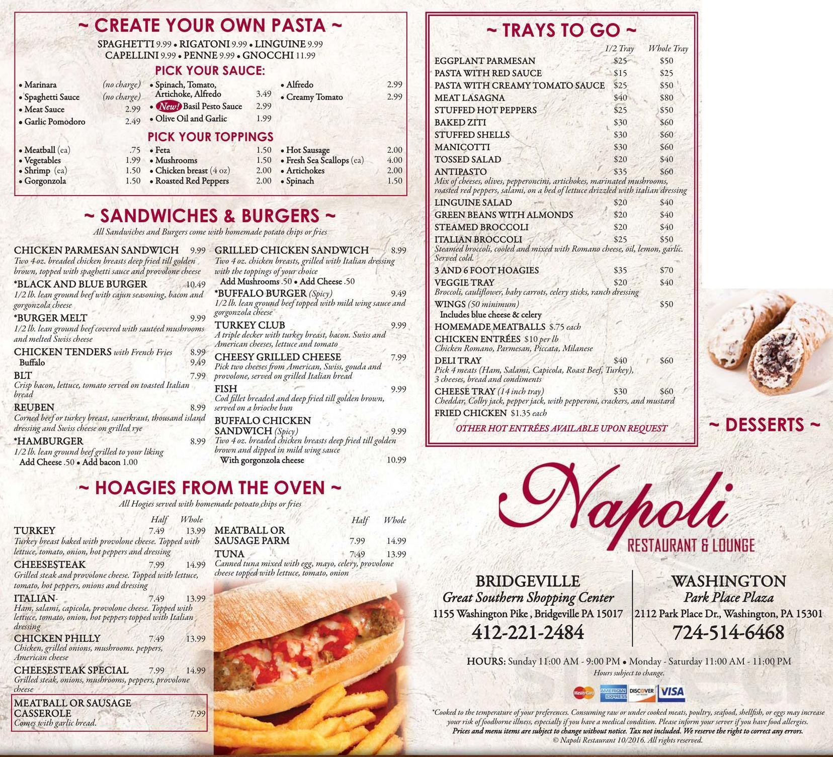 Napoli Restaurant Menu In Bridgeville Pennsylvania Usa
