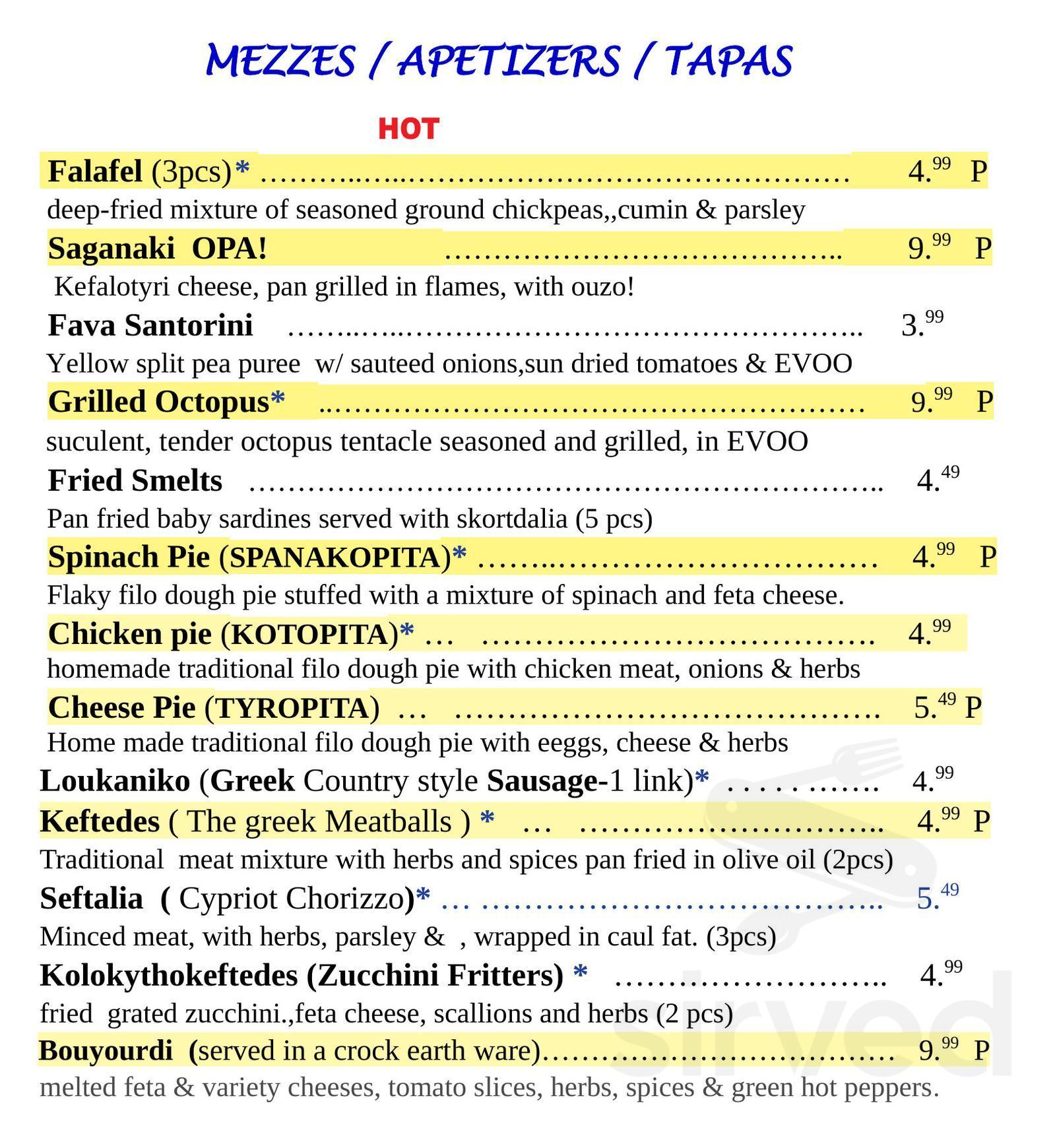 Greek House Kitchen Menu In Palmetto Bay Florida Usa