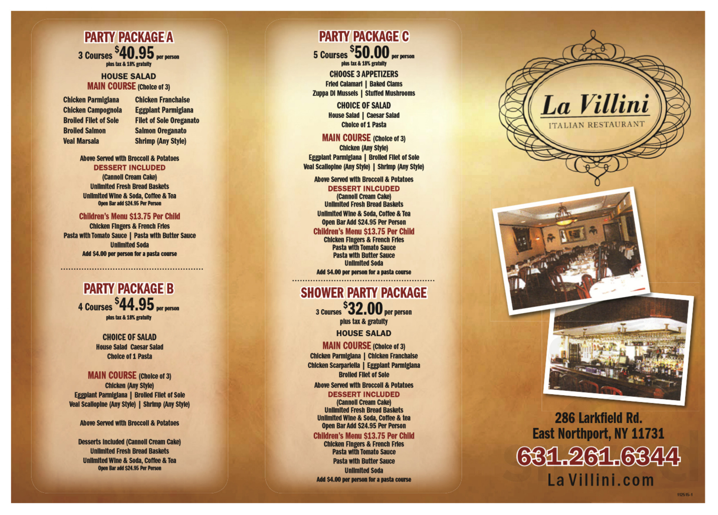 22594270ee34 Menu for La Villini Family Style Italian Restaurant - MAIN MENU page 1 of 2