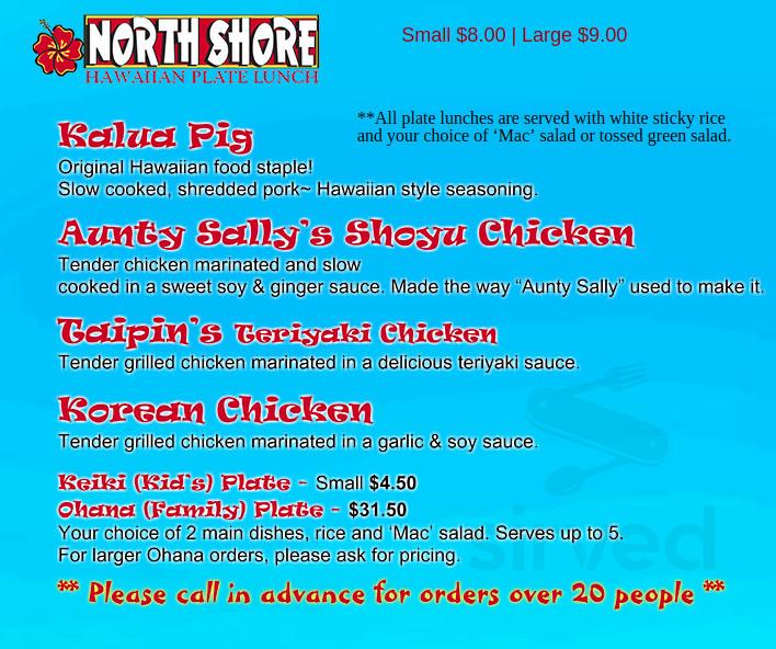 North Shore Hawaiian Kitchen Menu In Klamath Falls Oregon Usa