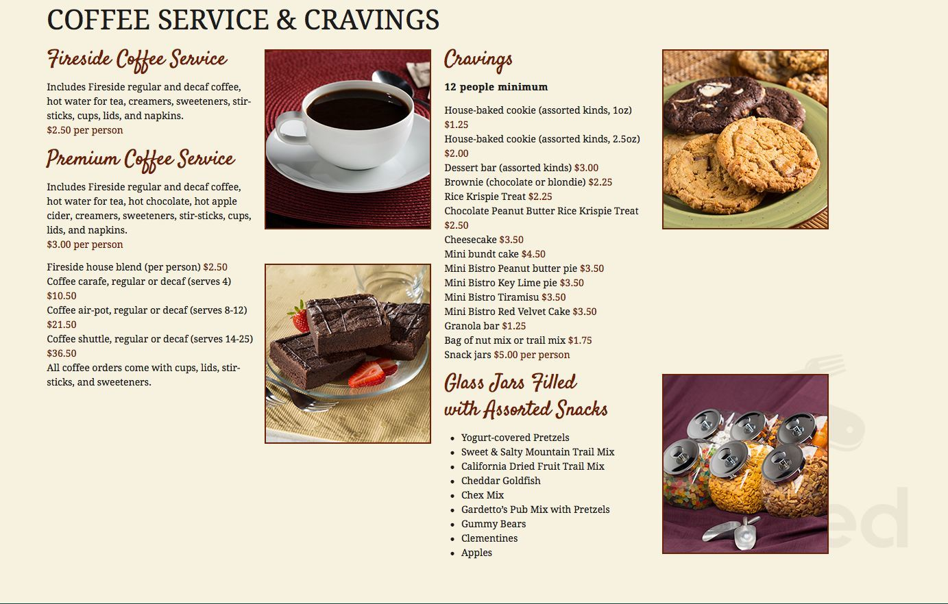 Menu for Fireside Cafe & Catering, Located inside of Group