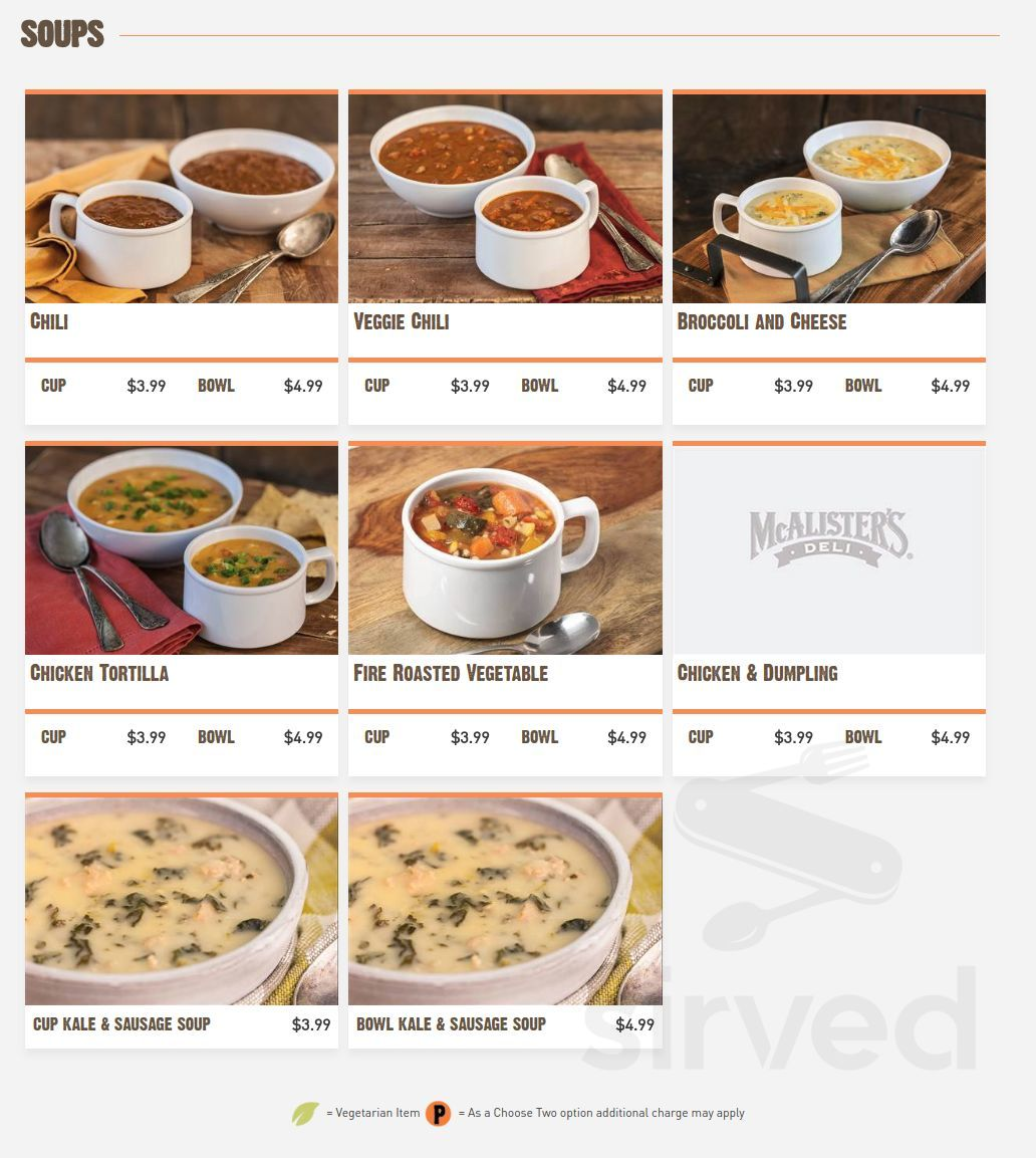 picture relating to Mcalisters Deli Printable Menu named Menu for McAlisters Deli within just Dayton, Ohio, United states