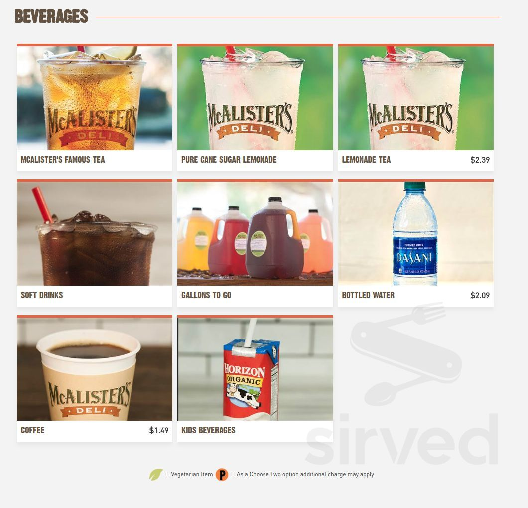 image relating to Mcalisters Deli Printable Menu known as Menu for McAlisters Deli inside of Dayton, Ohio, United states