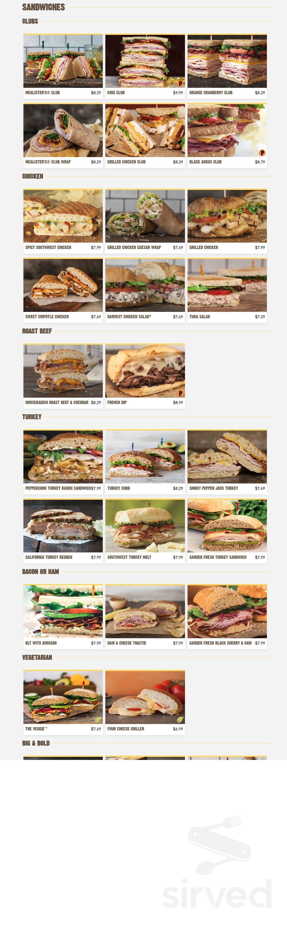 picture about Mcalisters Deli Printable Menu known as Menu for McAlisters Deli inside of Dayton, Ohio, United states