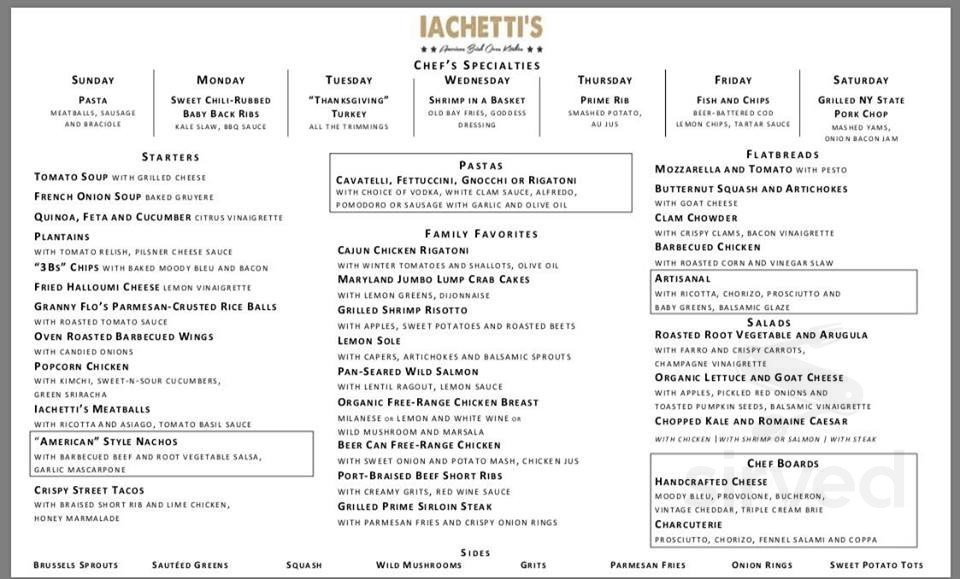 Iachetti S Kitchen Menu In Glen Rock New Jersey Usa