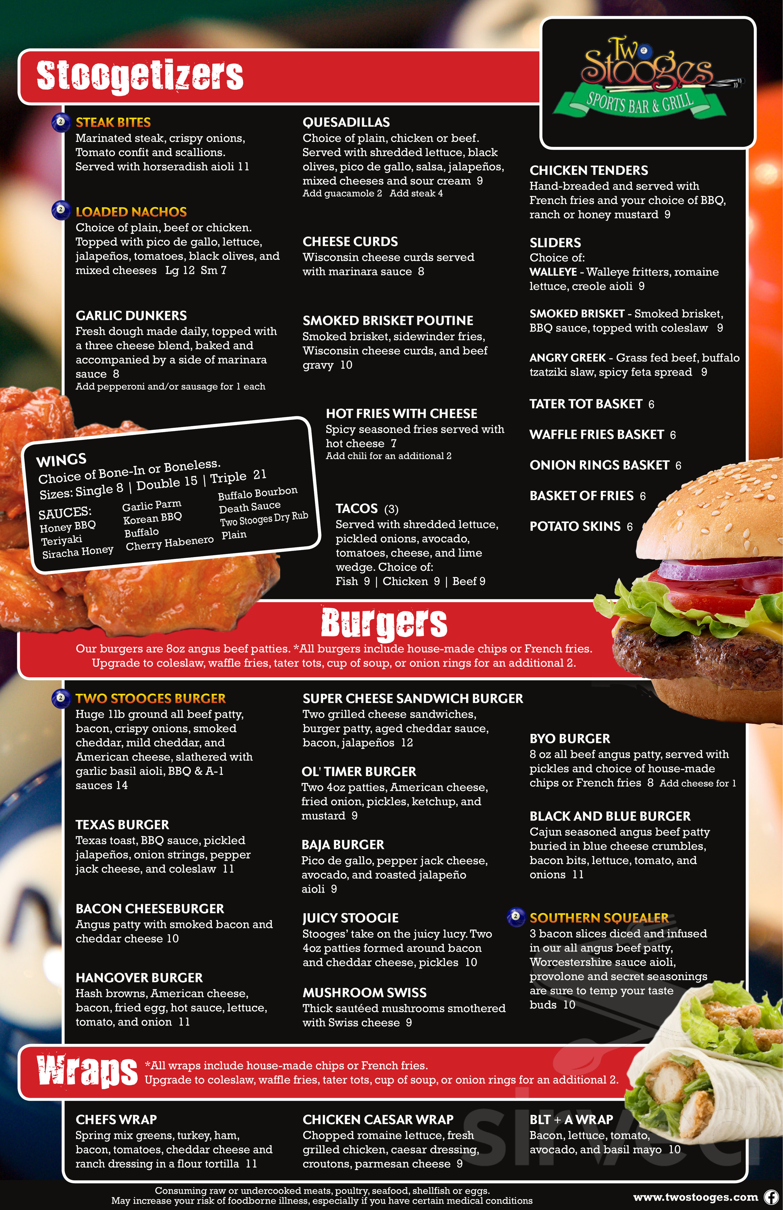 two stooges sports bar grill menu in fridley minnesota two stooges sports bar grill menu in