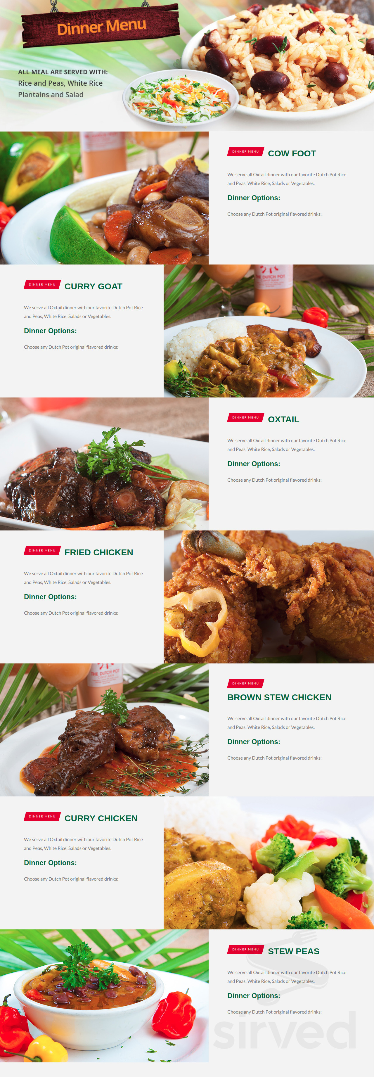 the dutch pot jamaican restaurant menu in fort lauderdale