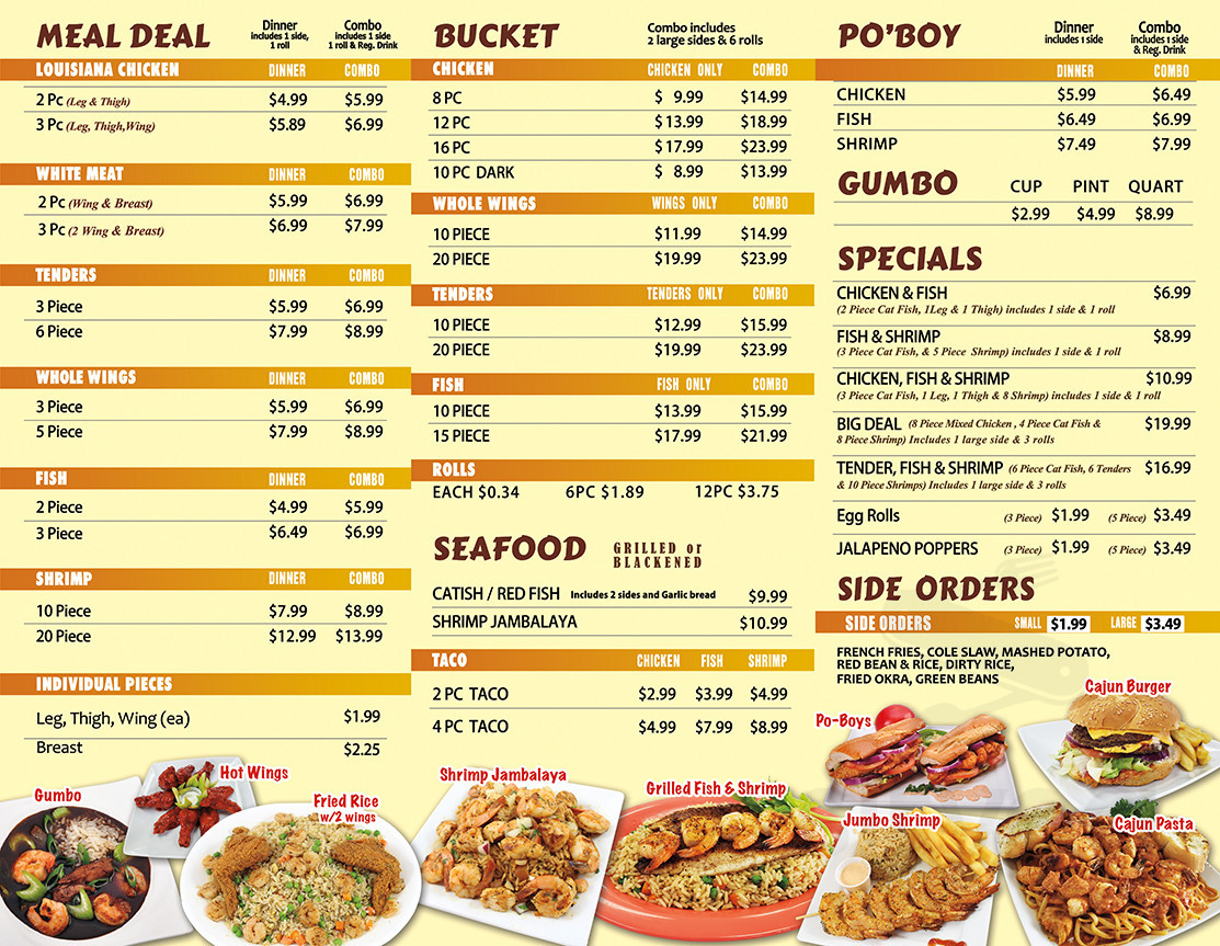 Menu for Louisiana Famous Fried Chicken & Seafood in Humble
