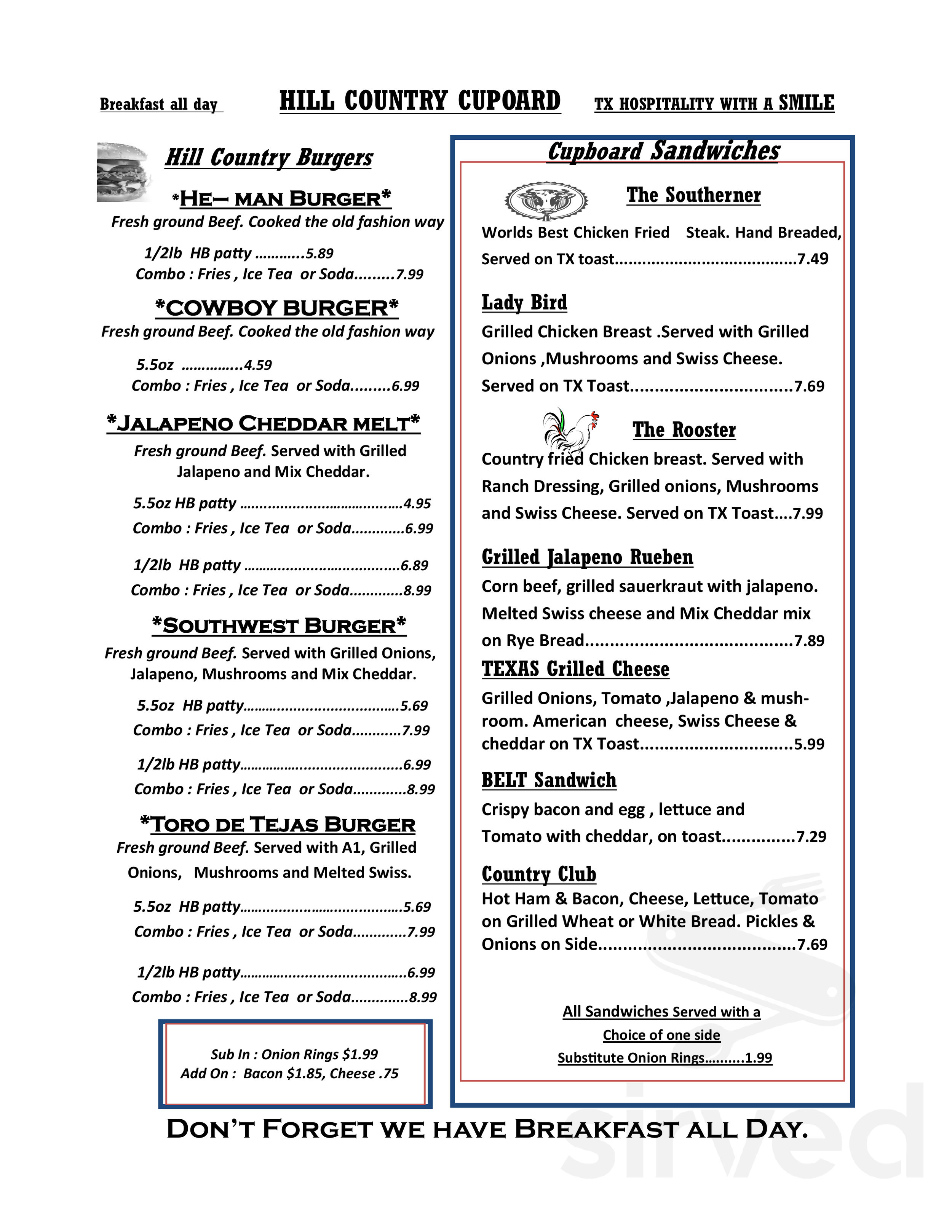 Hill Country Cupboard Menu In Johnson City Texas Usa