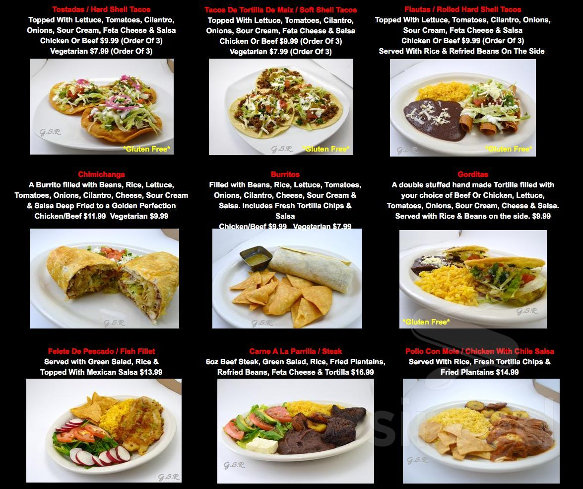 Genesis Latin American Restaurant Menu In Cambridge Ontario