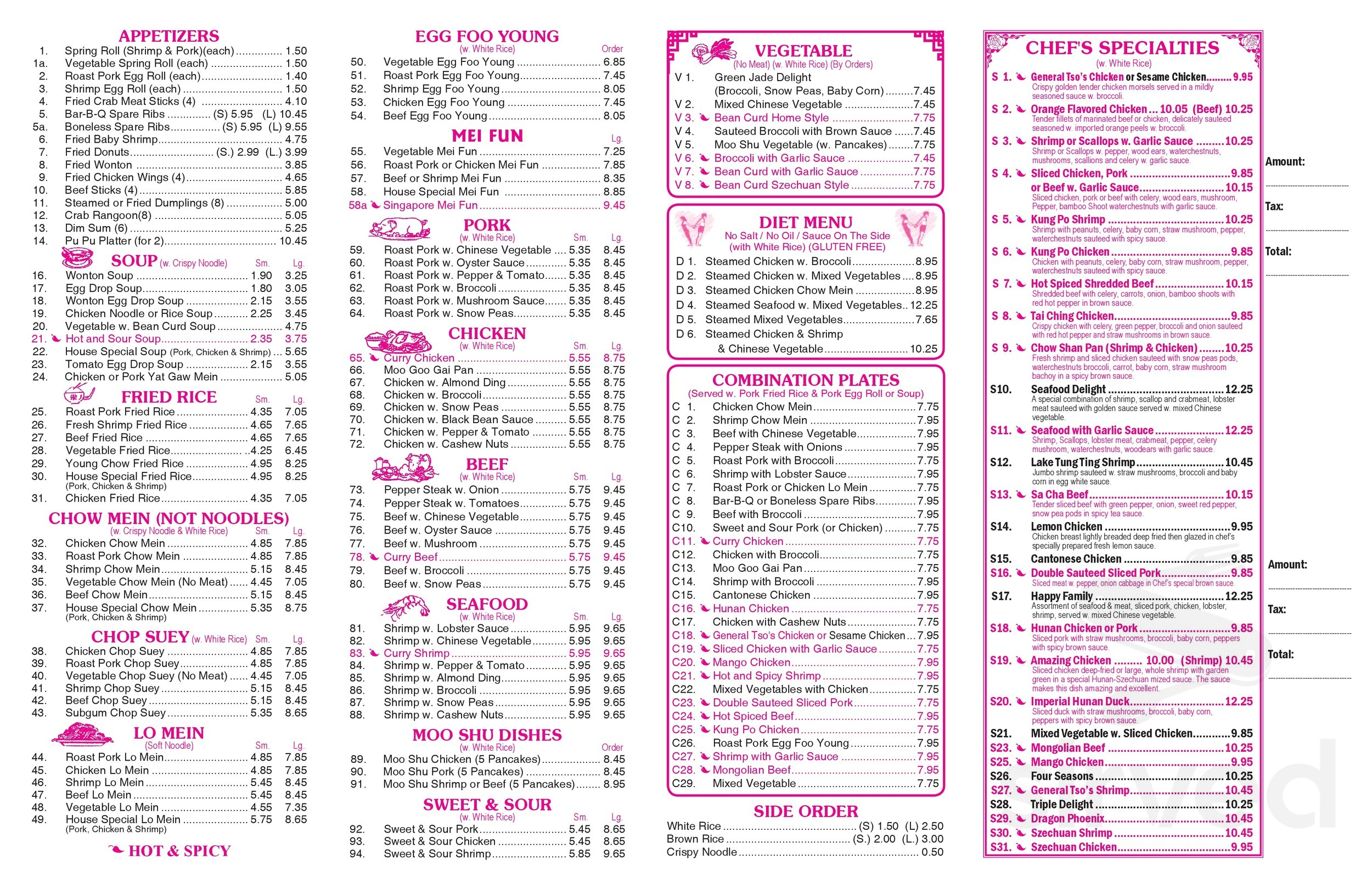 China Garden Mongolian Grill Menu In Morehead City North Carolina