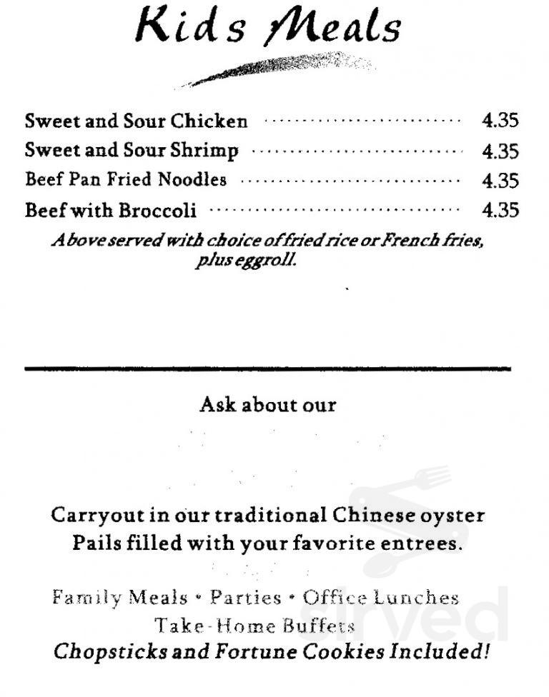 Chinese Kitchen Menu In Odessa Texas Usa