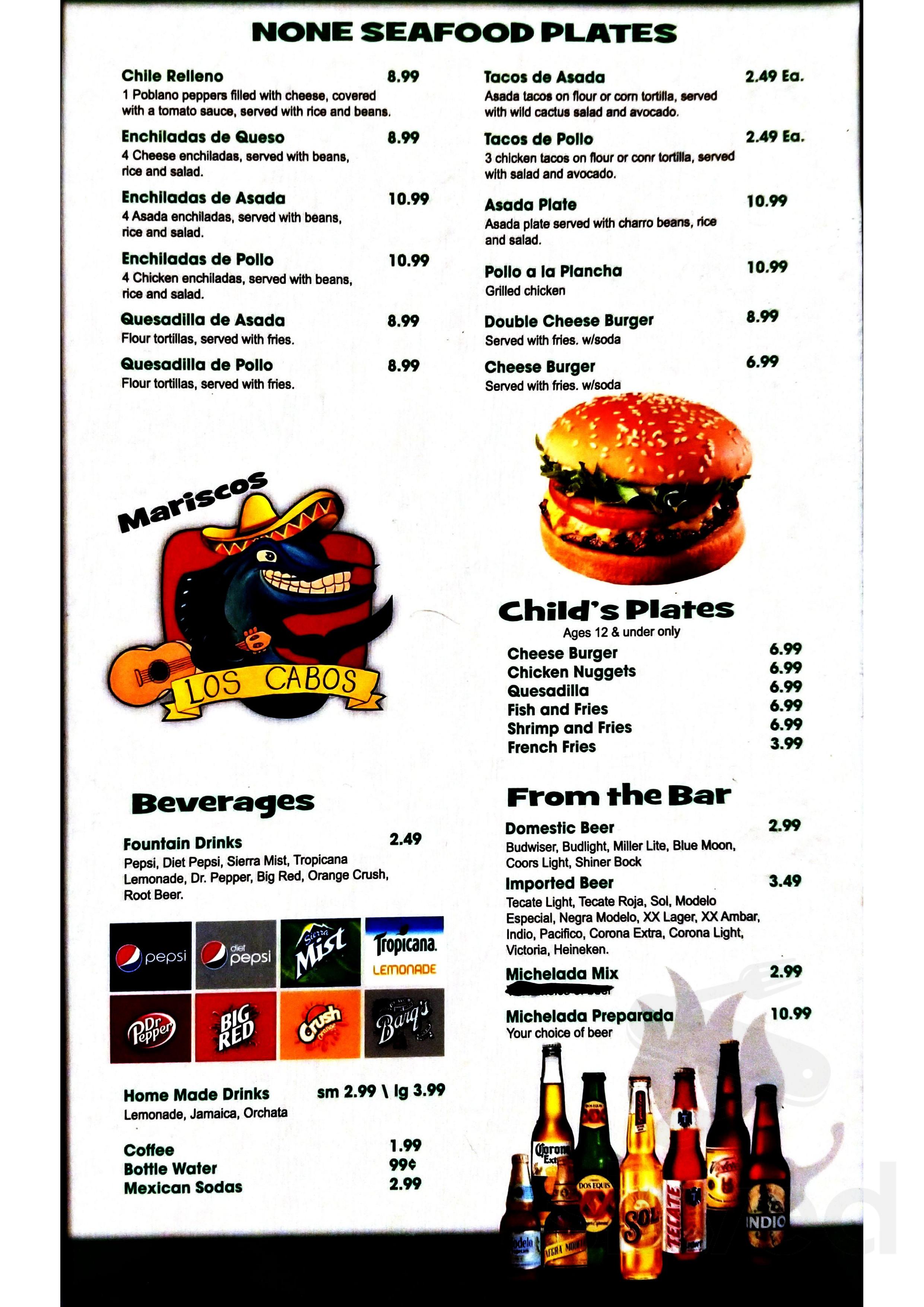 Los Cabos Seafood Restaurant menu in San Antonio, Texas
