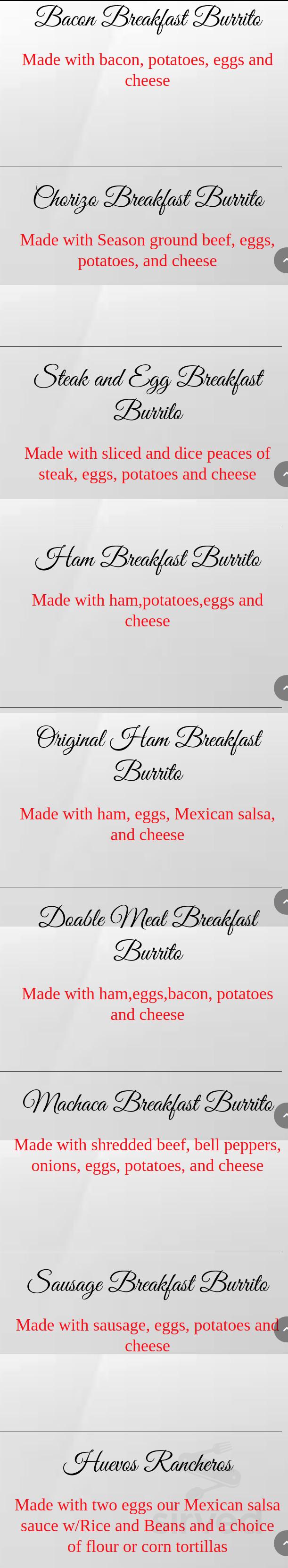 Menu For Muchas Gracias Mexican Restaurant In Dallas Oregon