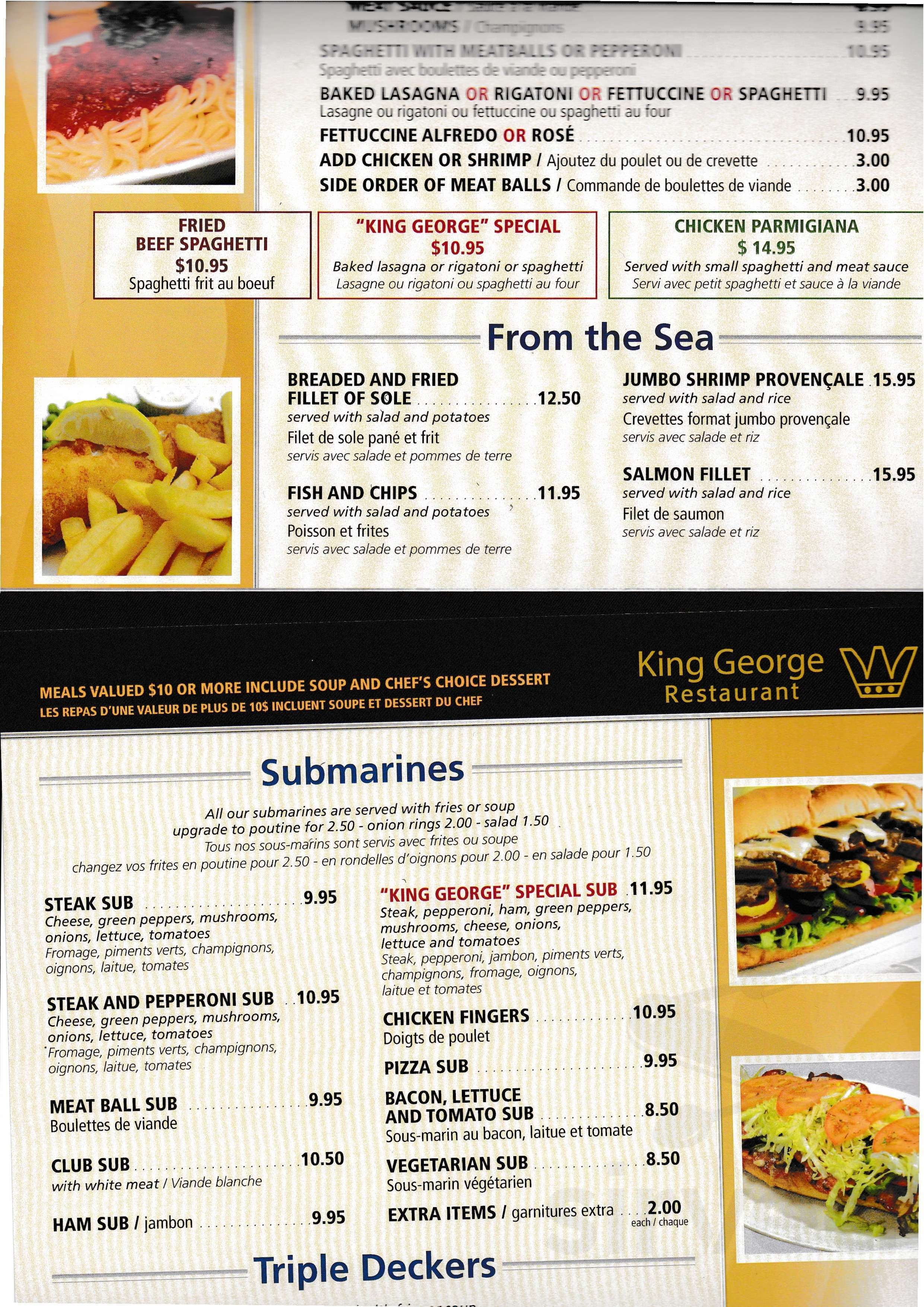 Rondelle D Oignon Sous Le Pied menu for king george in cornwall, ontario, canada