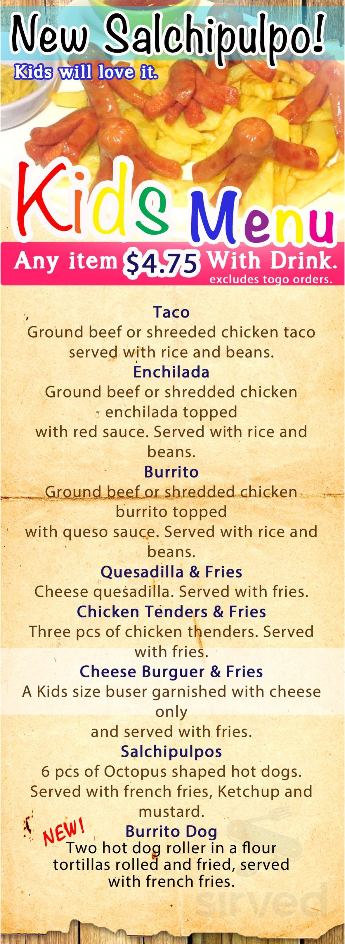 Menu for El Camino's Mexican Restaurant in Salem, Indiana