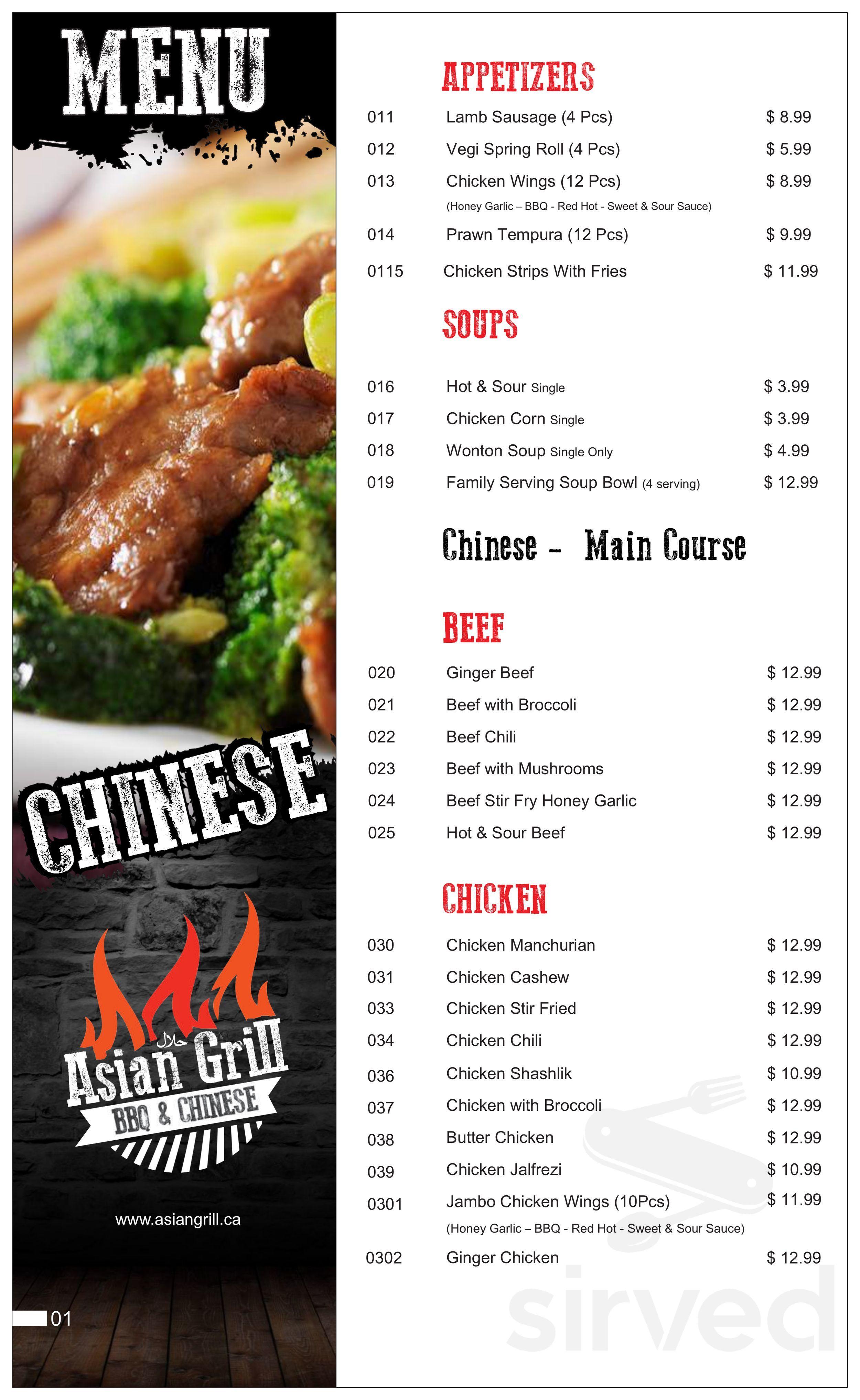 Asian Grill Bbq Chinese Halal Menu In Calgary Alberta
