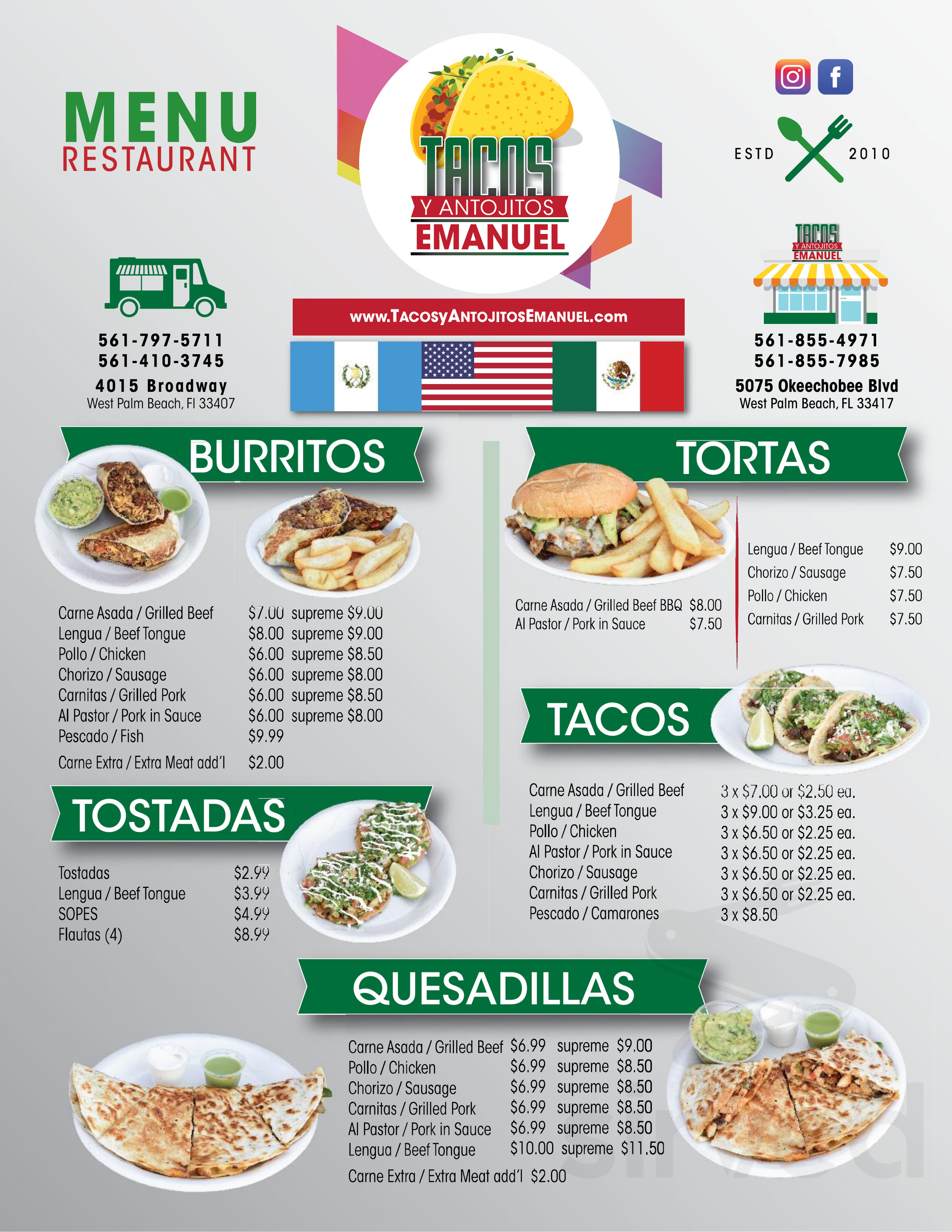 Menu For Tacos Y Antojitos Emanuel Restaurant In West Palm