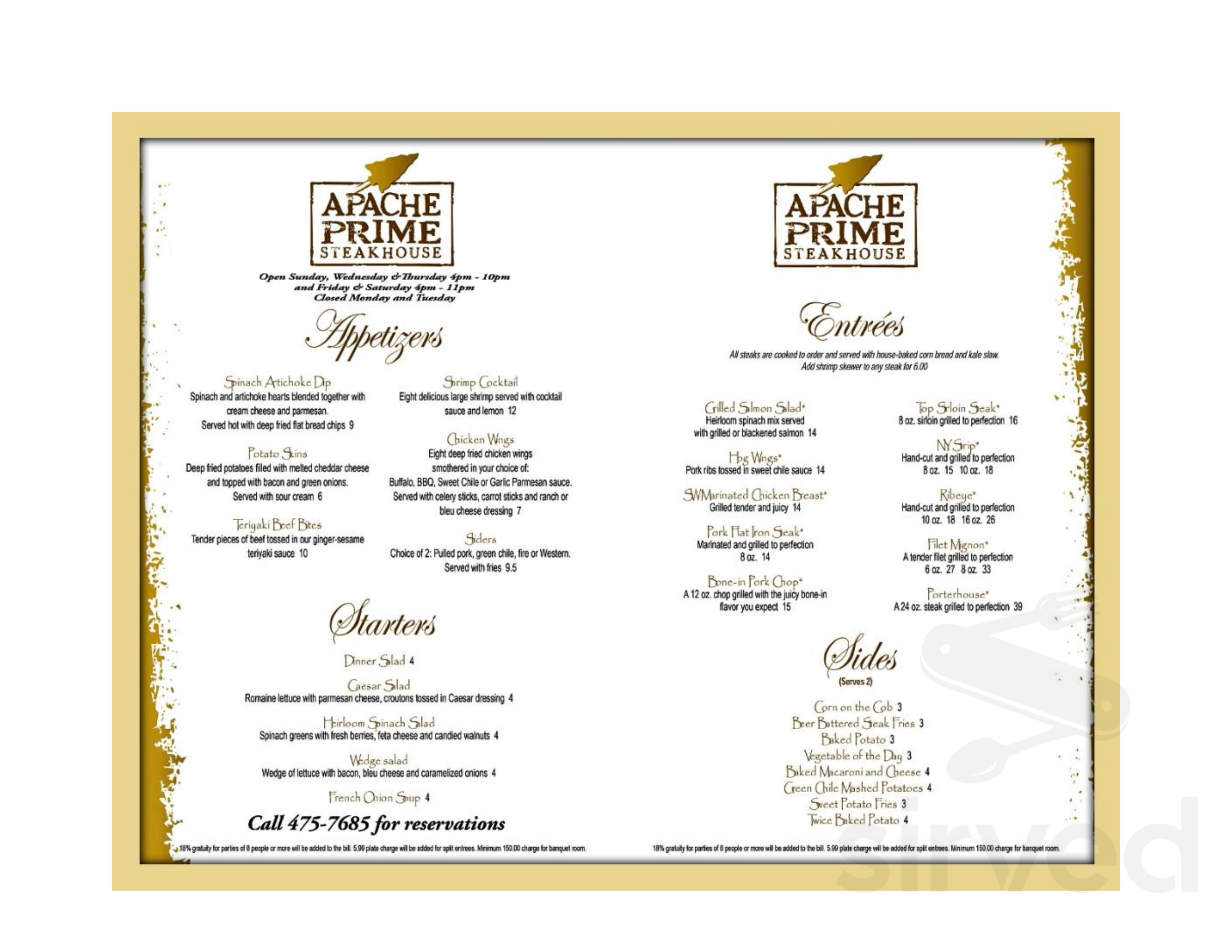 Apache Gold Casino Resort Menu In San Carlos Arizona