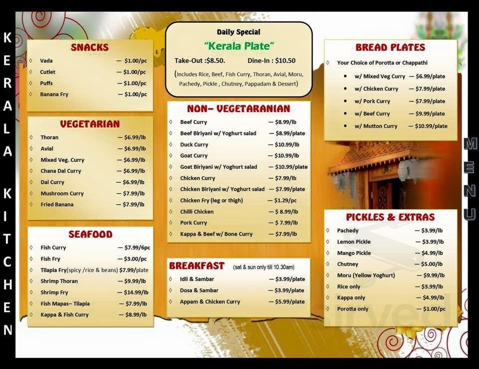 Kerala Kitchen Menu In Carrollton Texas Usa