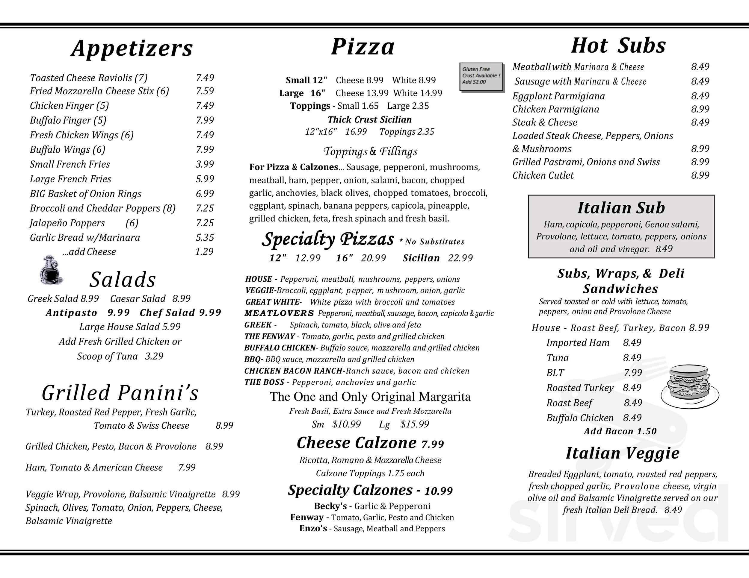Menu For Enzo S Pizzeria Restaurant In Lincoln New Hampshire