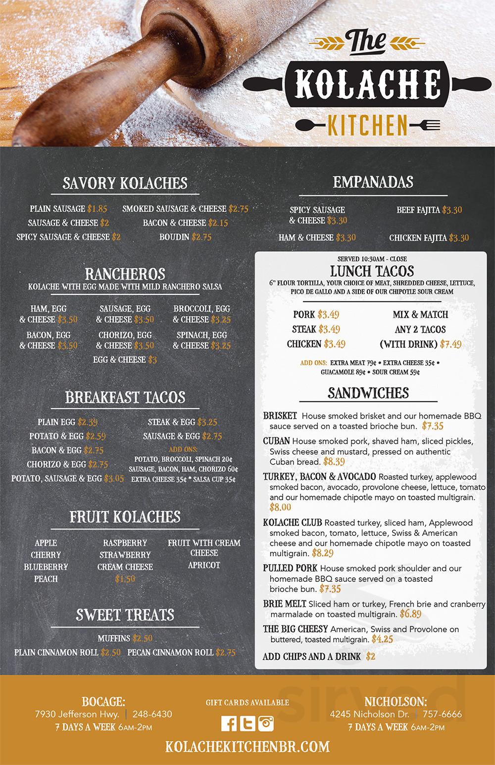 The Kolache Kitchen Bocage Menu In Baton Rouge Louisiana Usa