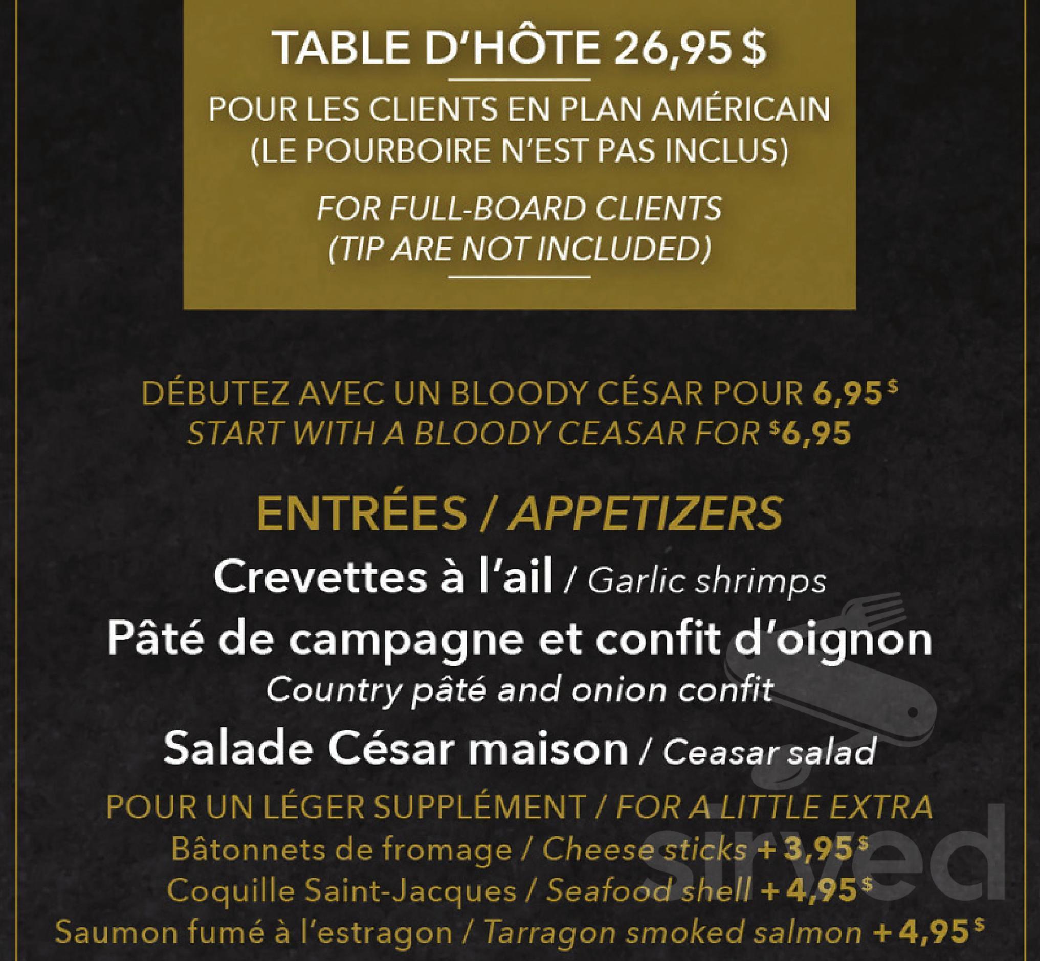 Restaurant Americain Plan De Campagne délices du petit manoir du casino menu in la malbaie, quebec