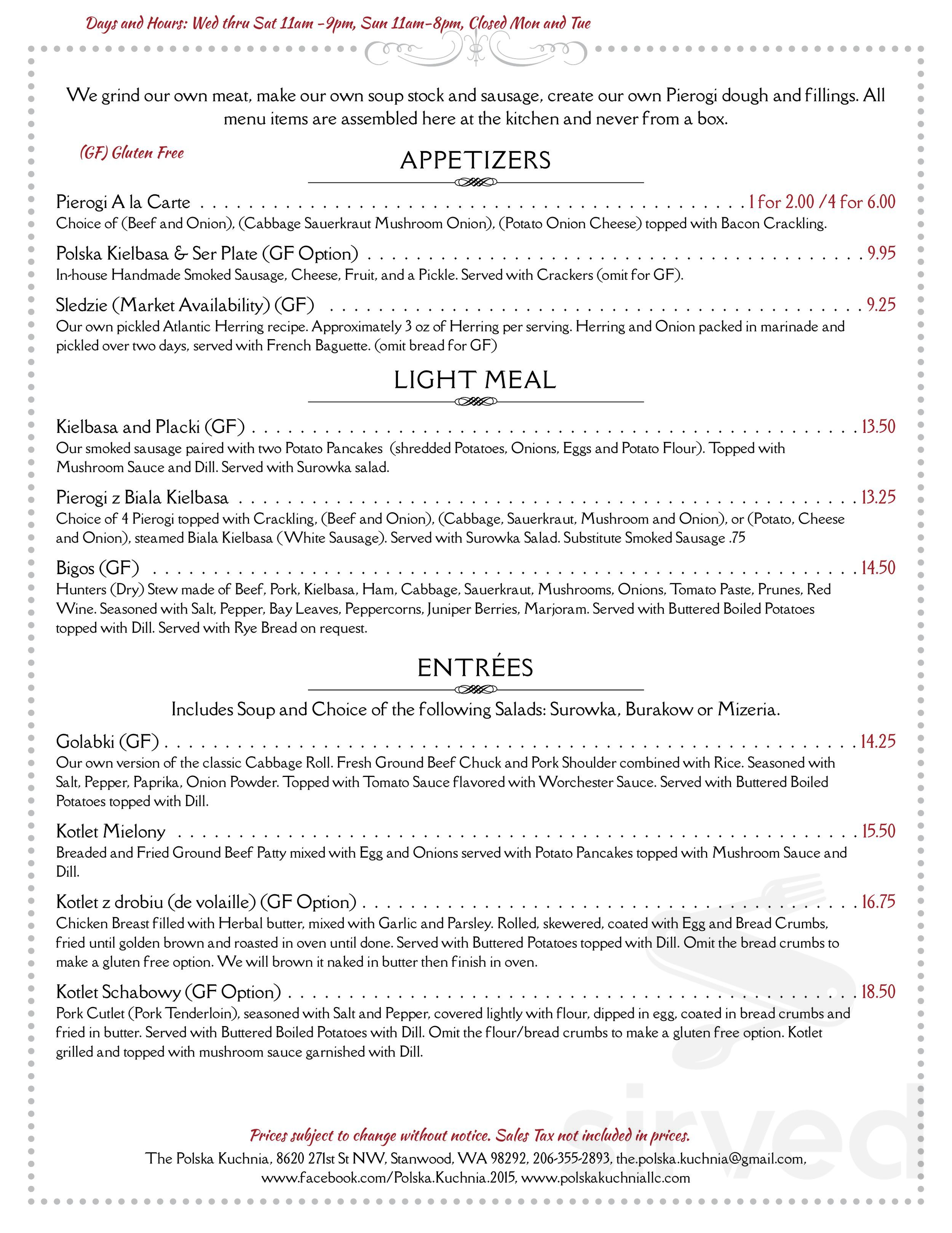 Menu For The Polska Kuchnia In Stanwood Washington Usa