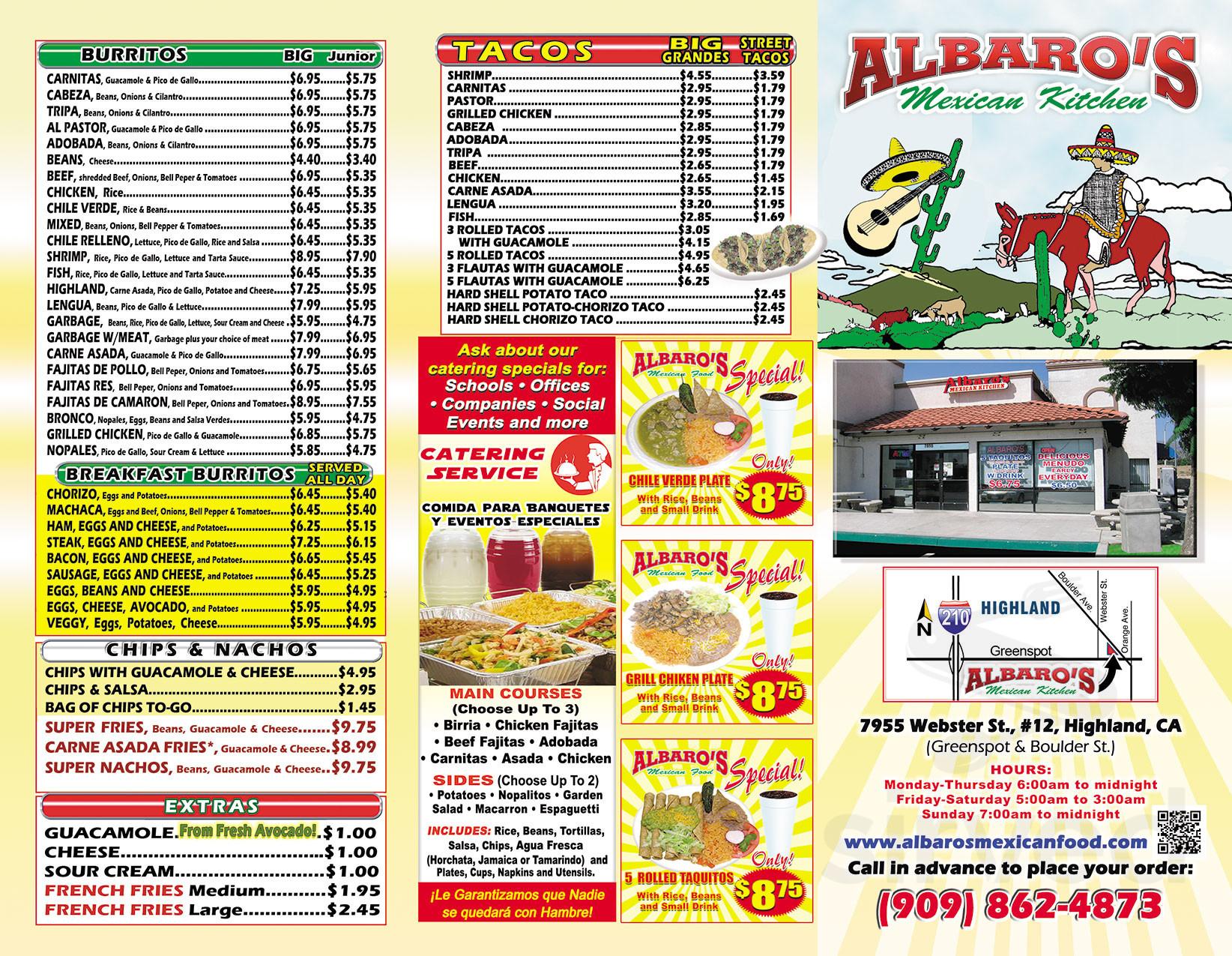 Menu For Albaro S Mexican Kitchen In Highland California