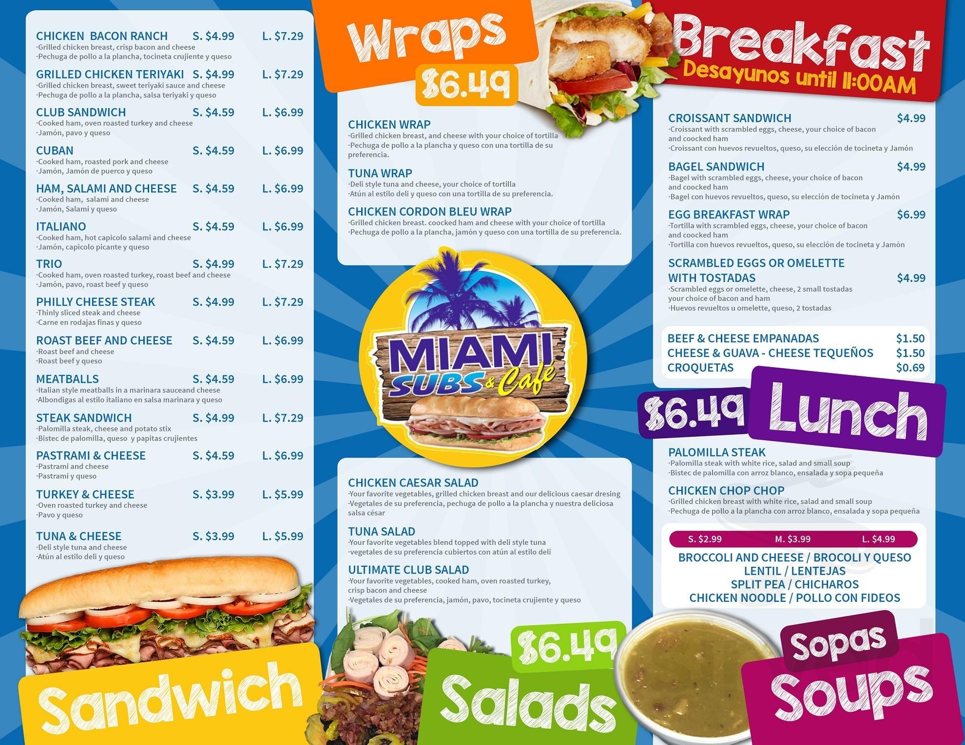 Miami Subs Menu In Miami Florida Usa