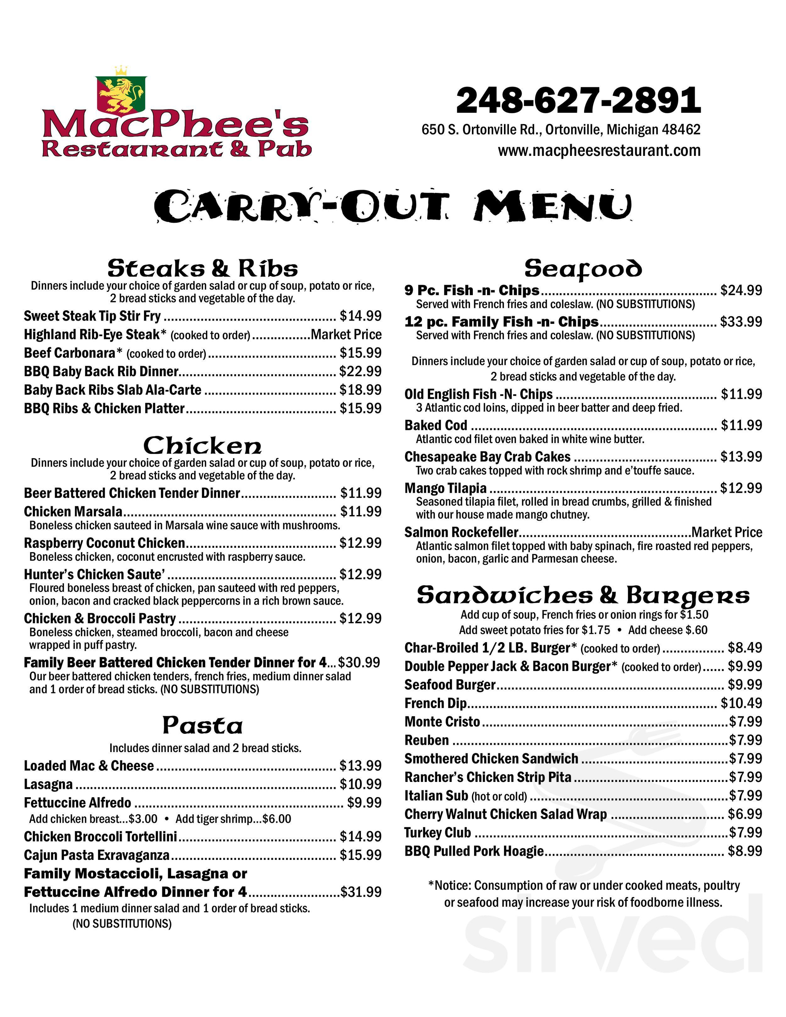 Menu for Macphee's Restaurant & Pub in Ortonville, Michigan