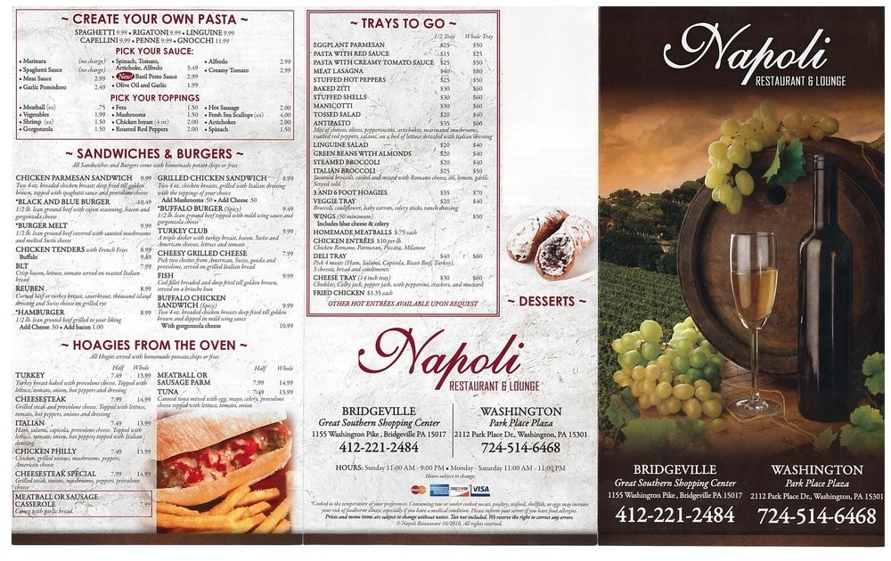 Menu For Napoli Restaurant And Lounge In Washington