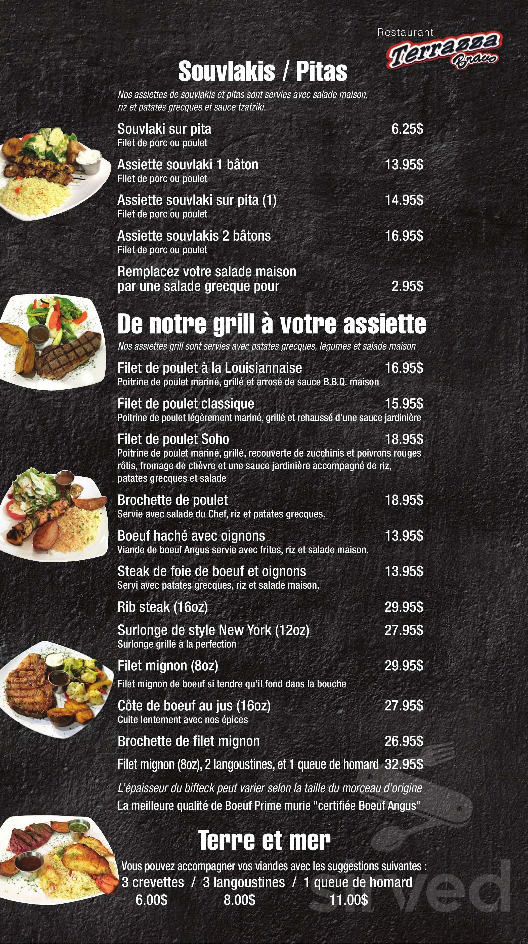 Restaurant Terrazza Bravo La Menu In Saint Charles