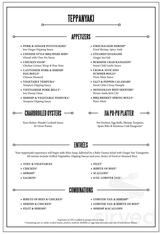 Jia Teppanyaki Menu In Biloxi Mississippi Usa