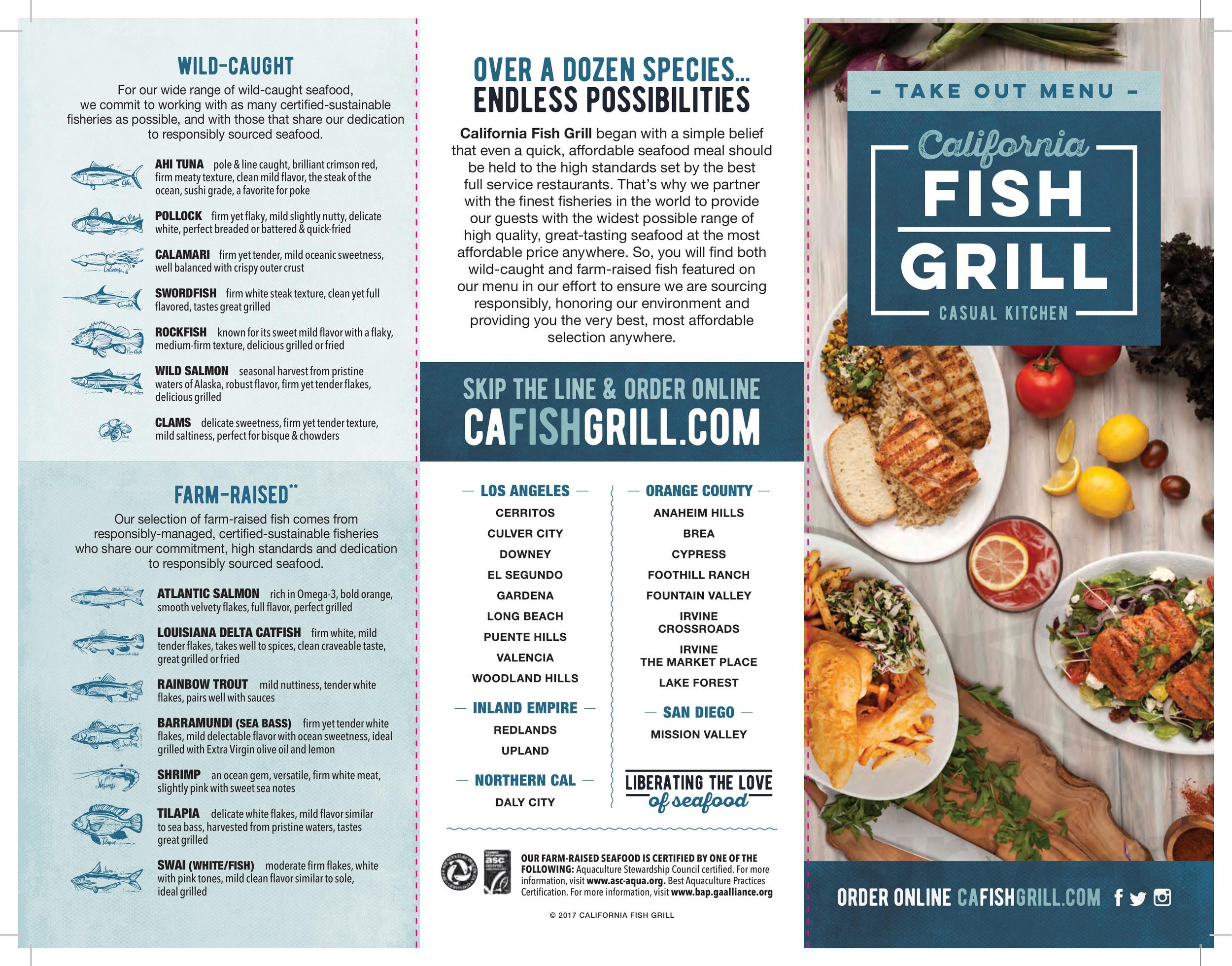 California Fish Grill Menu In Walnut Creek California