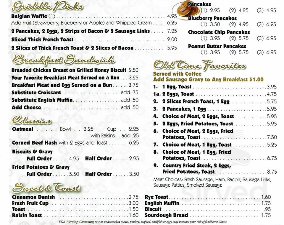 Nick S Country Cafe Menu In Huntington Indiana Usa