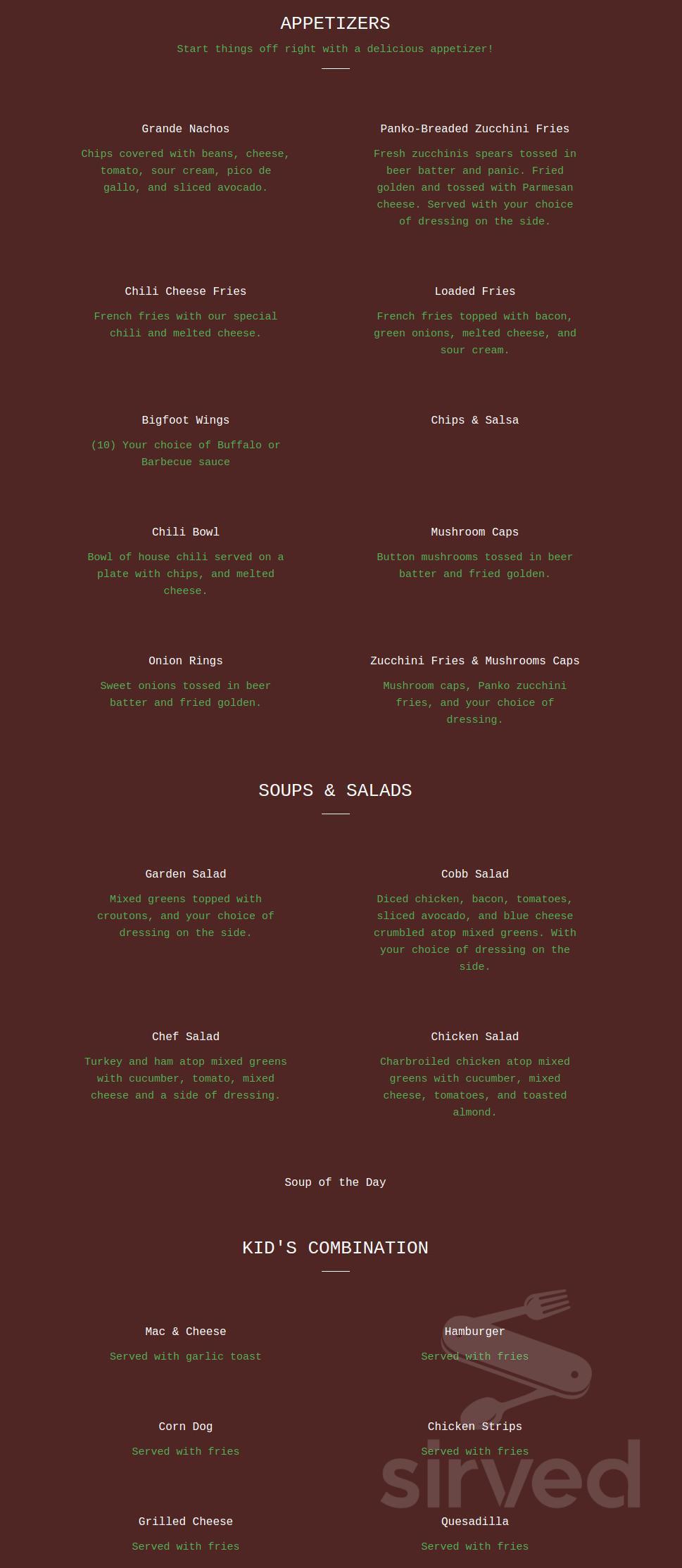 Menu for Bigfoot Steakhouse in Willow Creek, California