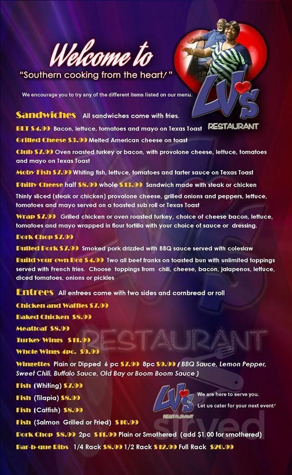 Menu For Lv S Restaurant In Hampton Virginia Usa