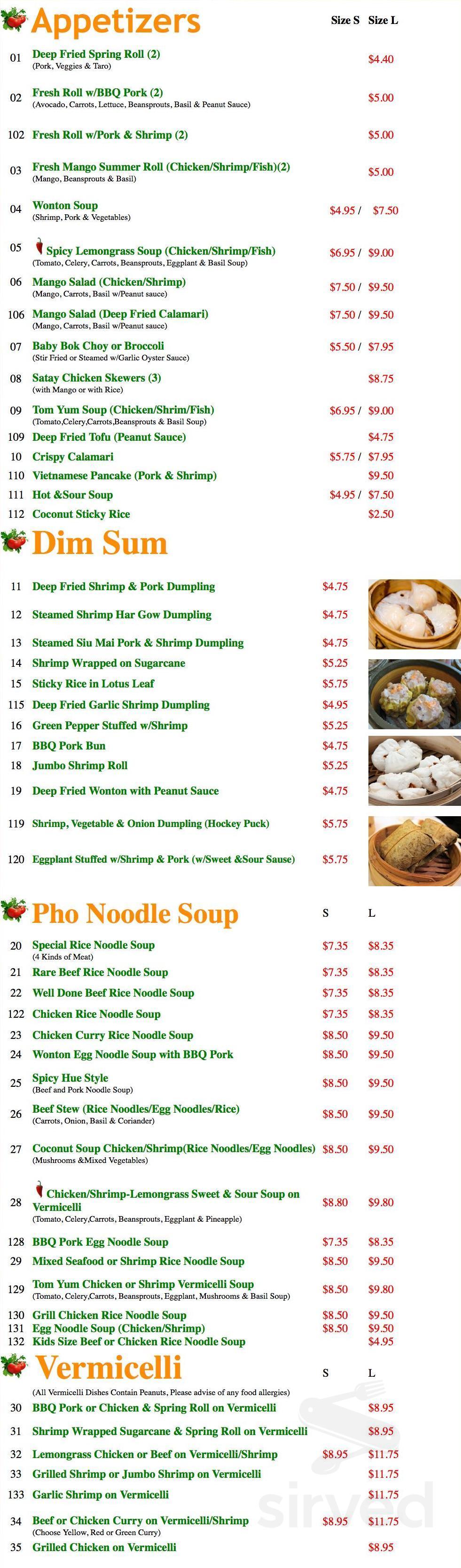 Sweet Chili Viet Thai Pho Noodle House Menu In Orangeville Ontario