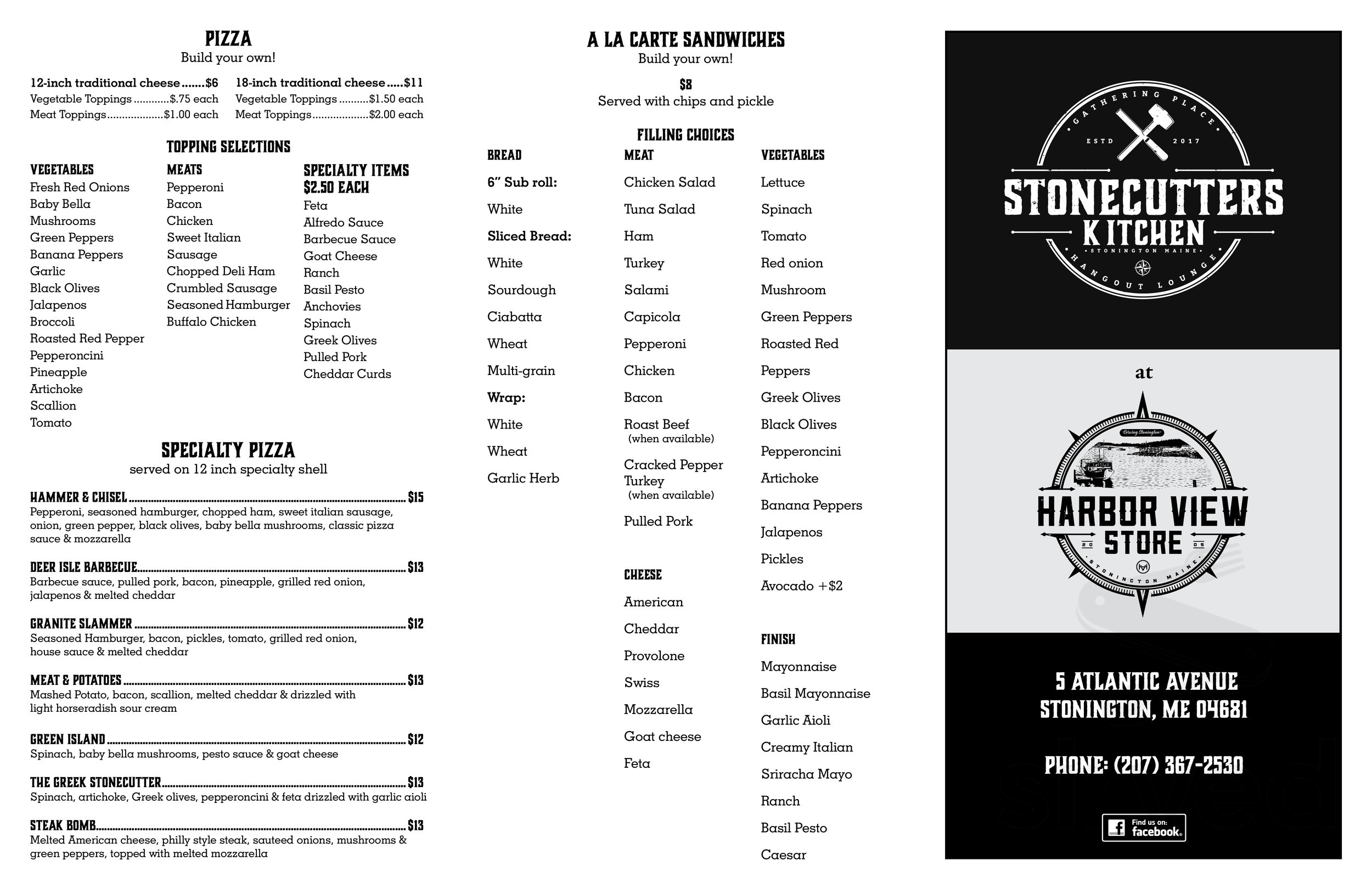 Stonecutters Kitchen Menu In Stonington Maine Usa