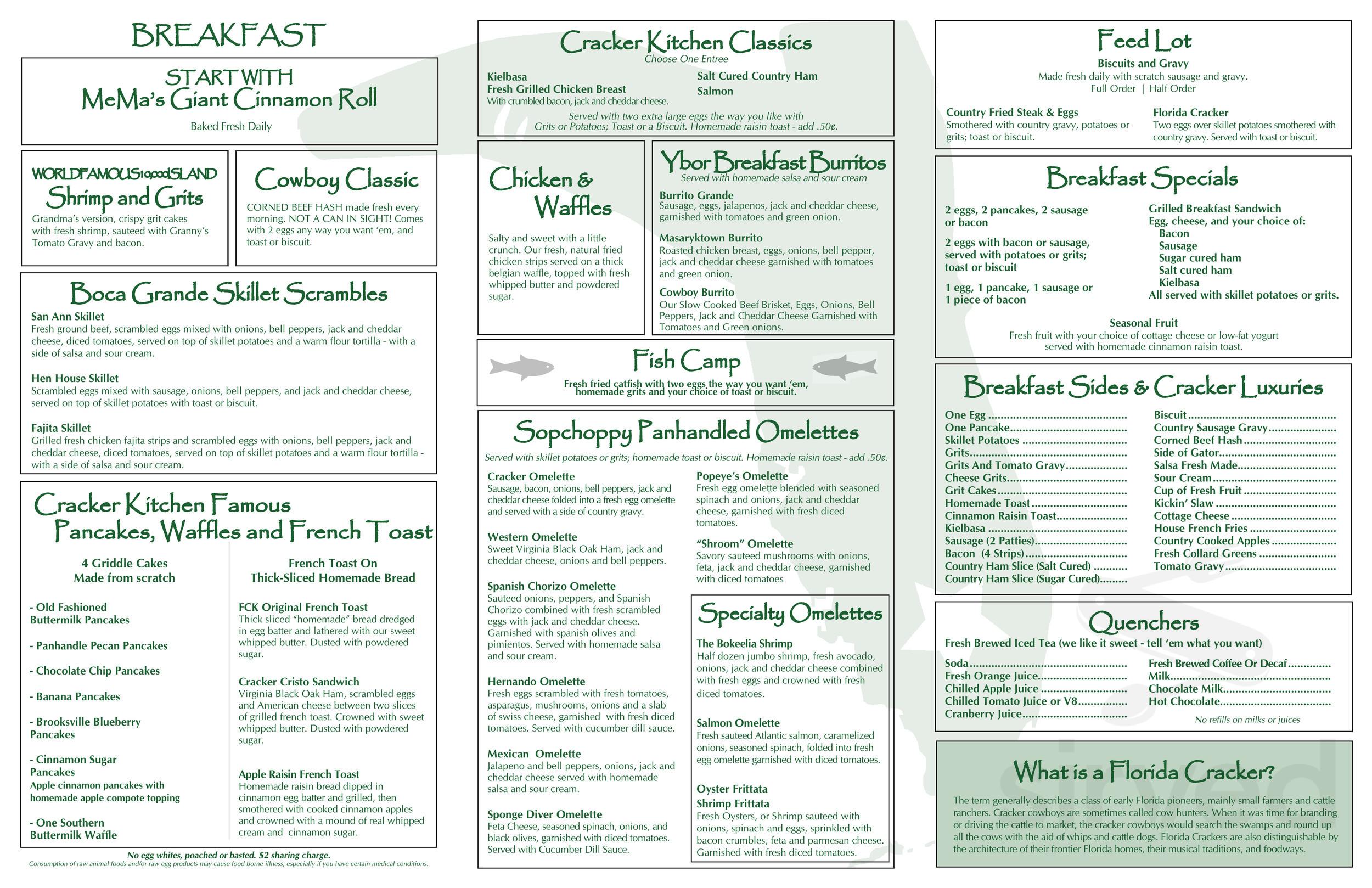 florida cracker kitchen menu prices