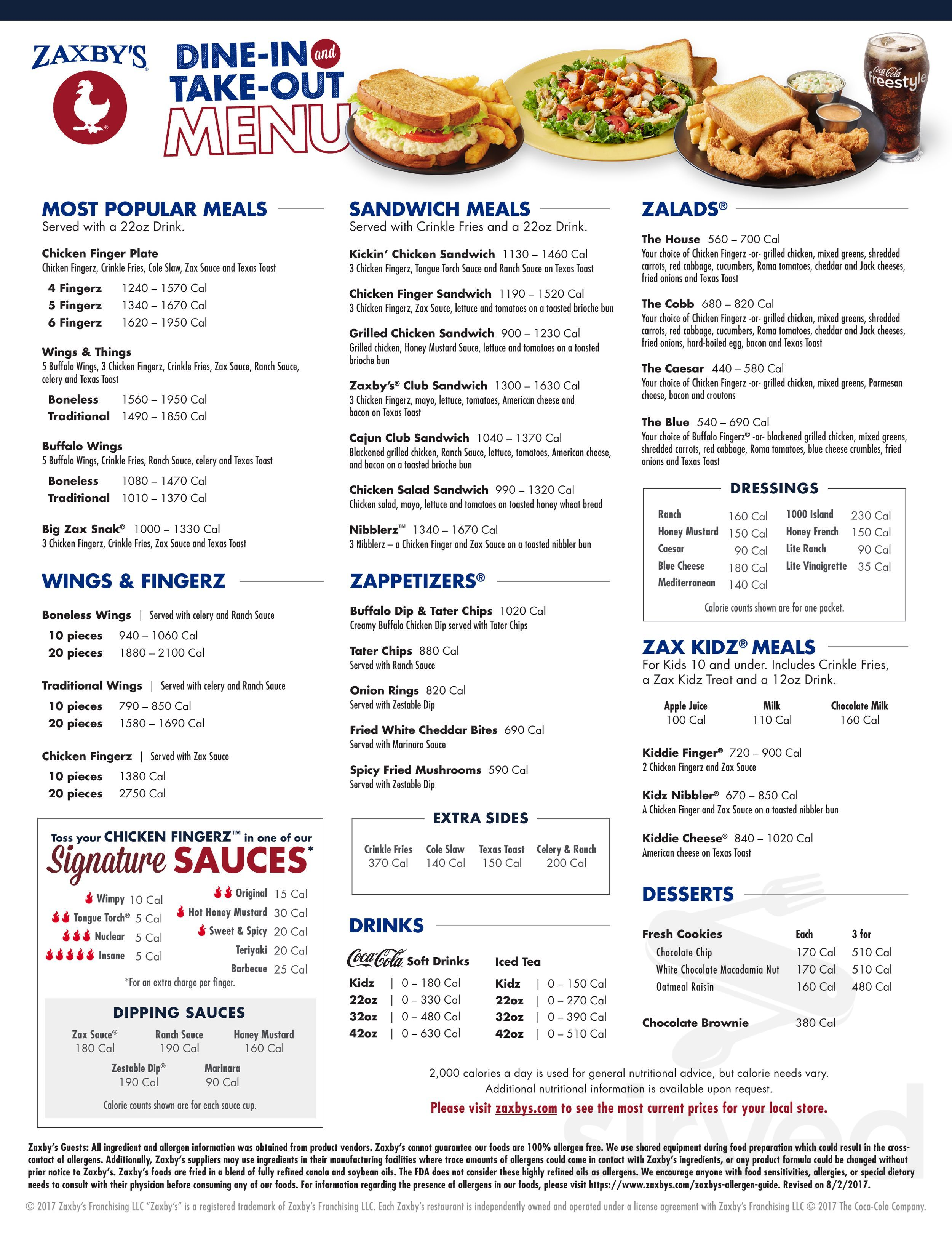 Zaxby S Chicken Fingers Buffalo Wings Menu In Newburgh Indiana Eating chicken my husband got sick with diarrhea 15 minutes after eating his food and has been back and forth to the bathroom with only diarrhea ever since see less. chicken fingers buffalo wings menu