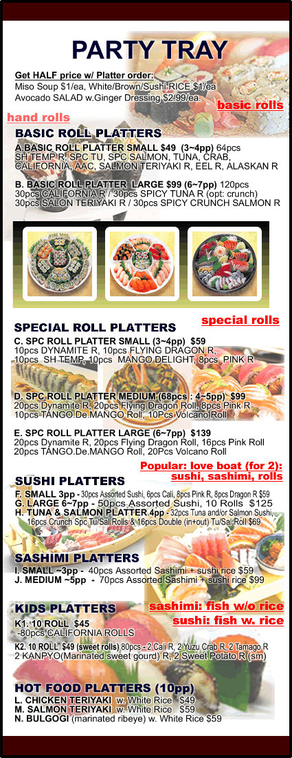 Menu for Sushi Cafe in Lodi, New Jersey, USA