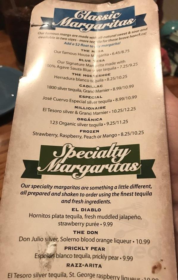 Menu For Table Mountain Inn In Golden Colorado Usa