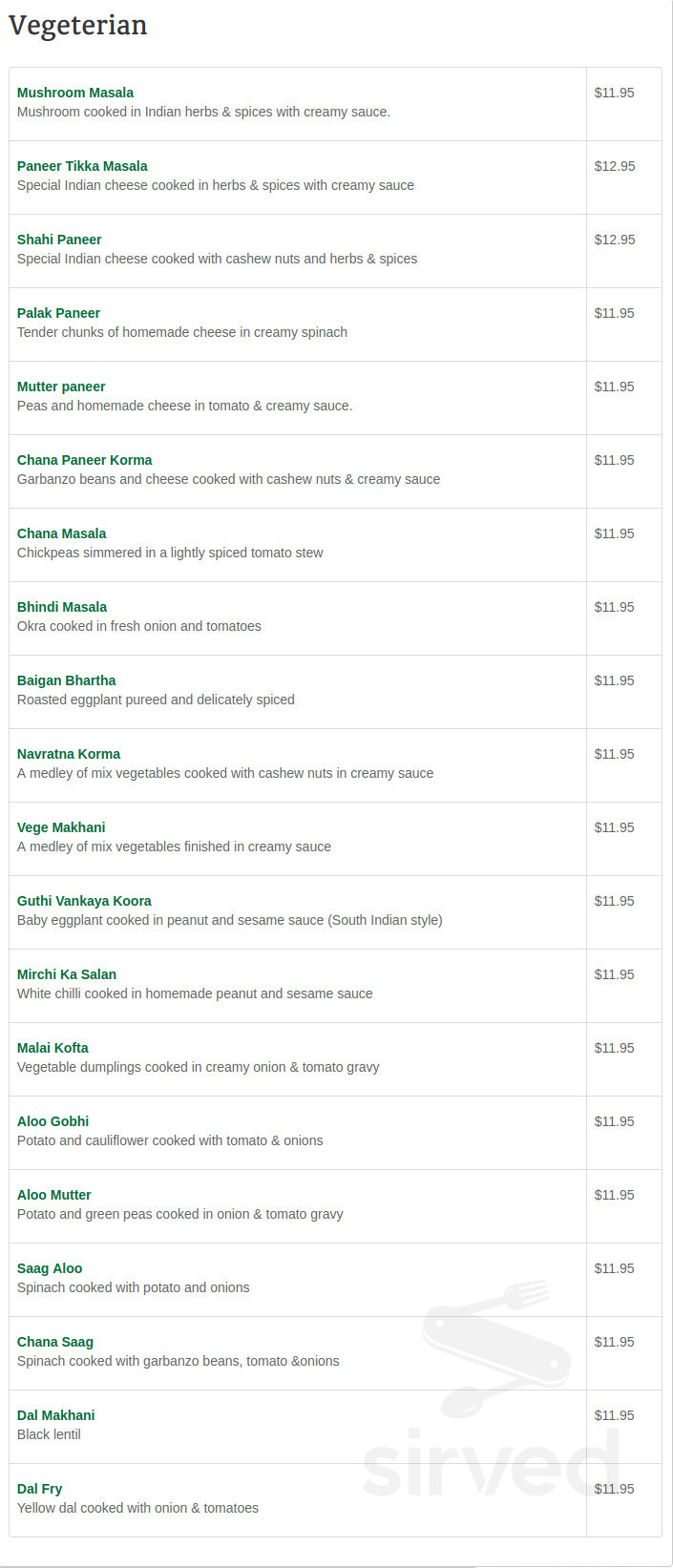 Menu For India Kitchen Tustin Ca In Tustin California
