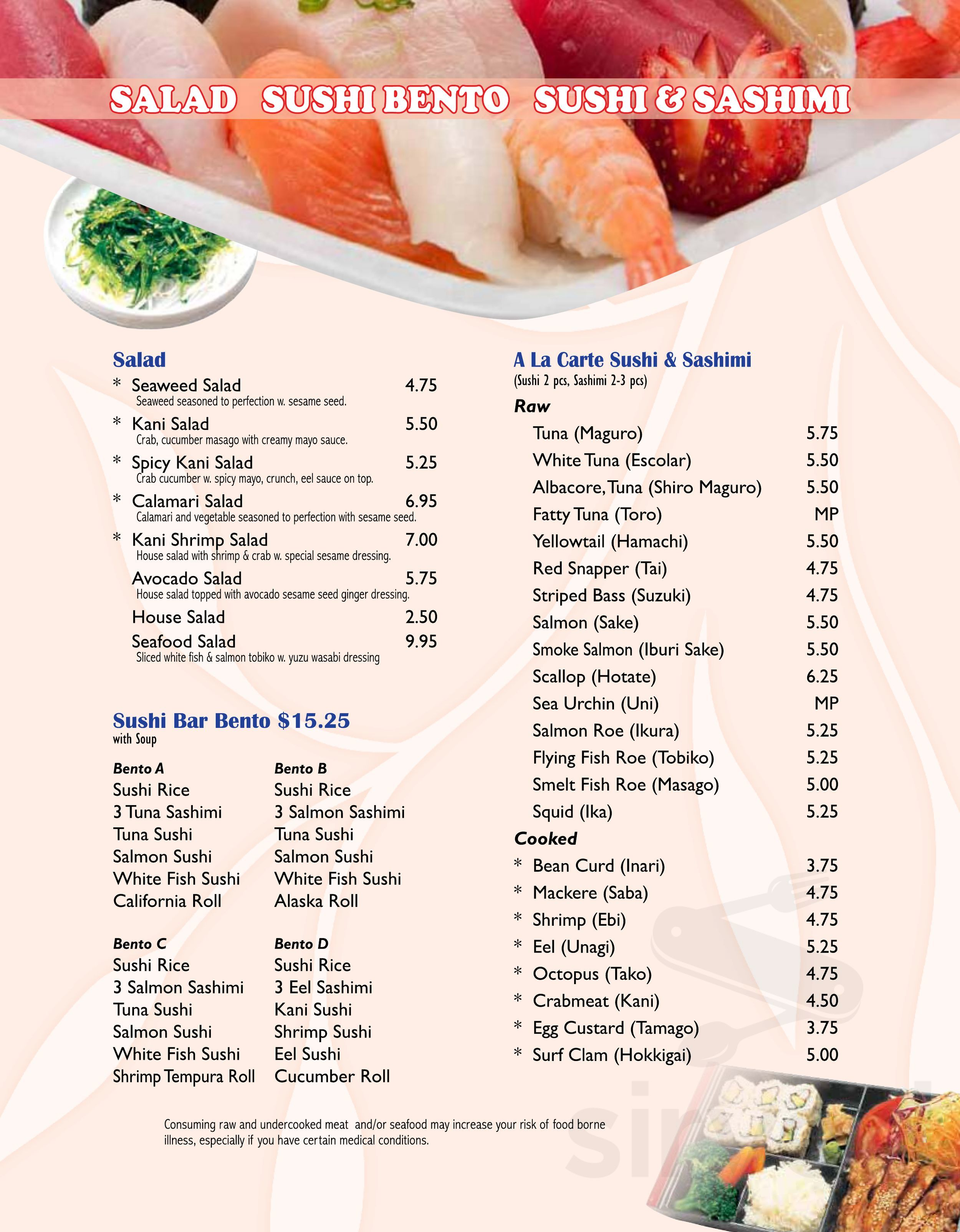 Menu For Happy Kitchen Sushi Bar In Zionsville Indiana